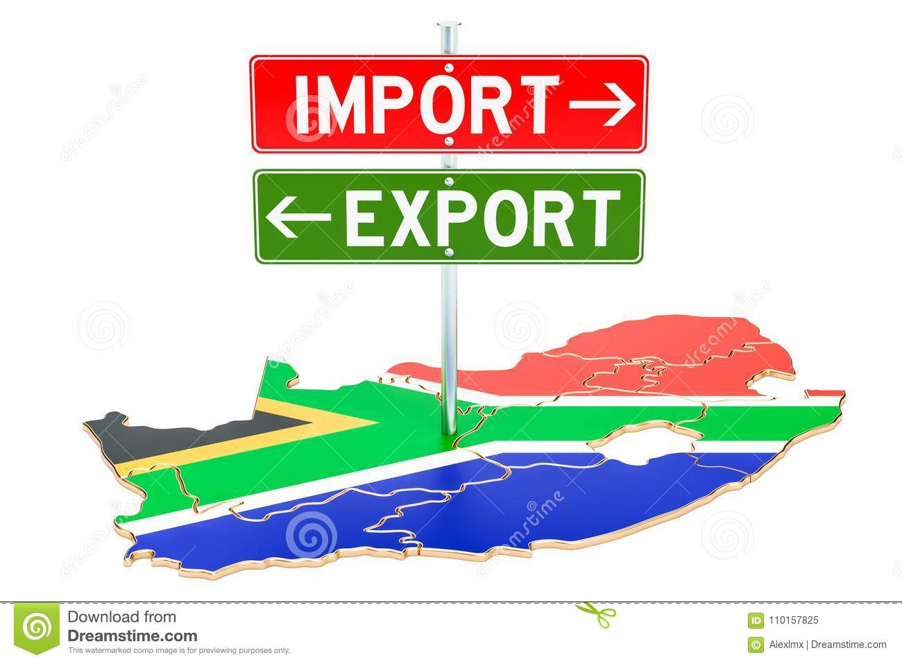 Import And Export In South Africa Concept, 3D Rendering