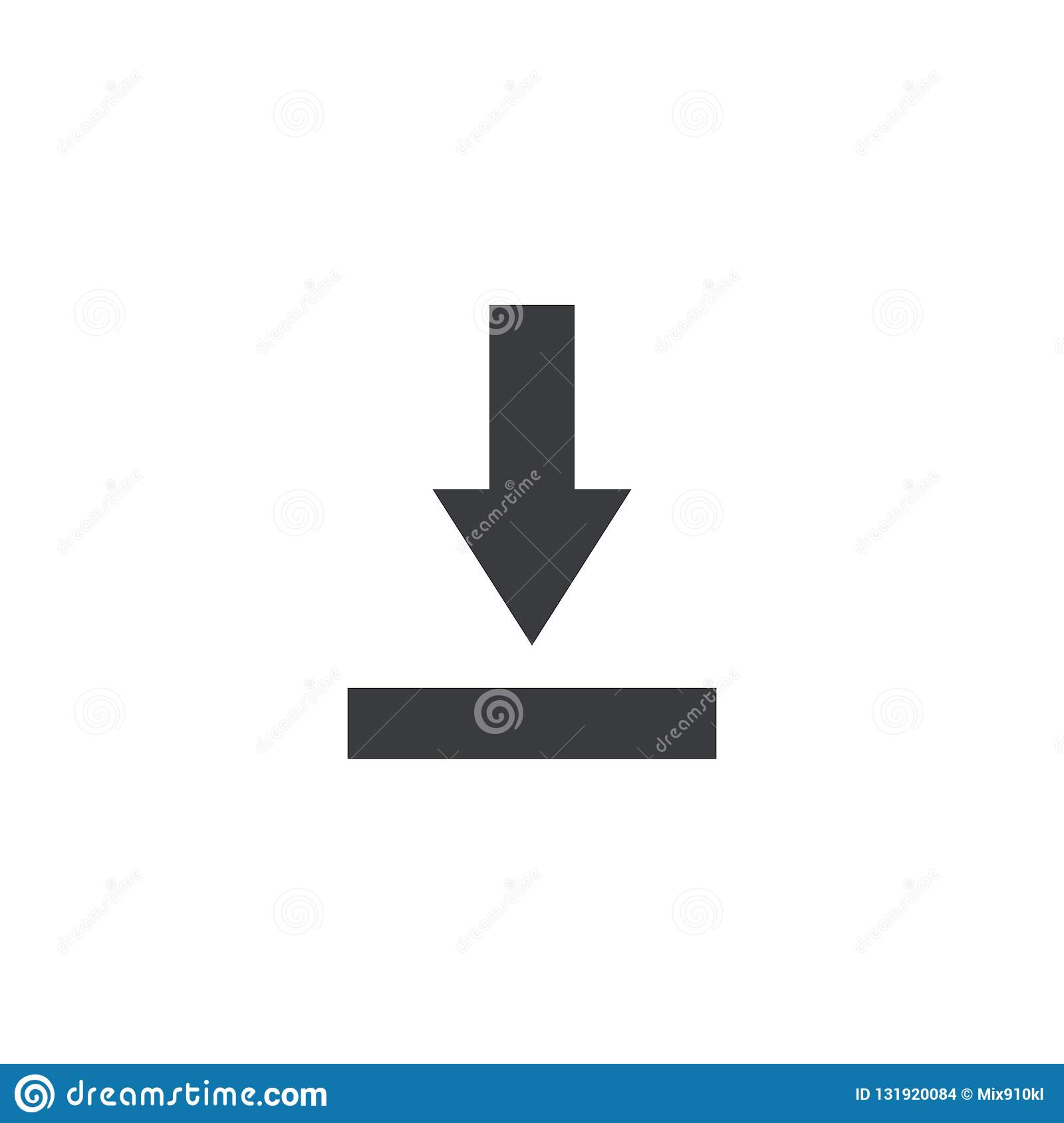 Import file icon. Download sign. Save document symbol. Interface button. Element for design mobile app or website