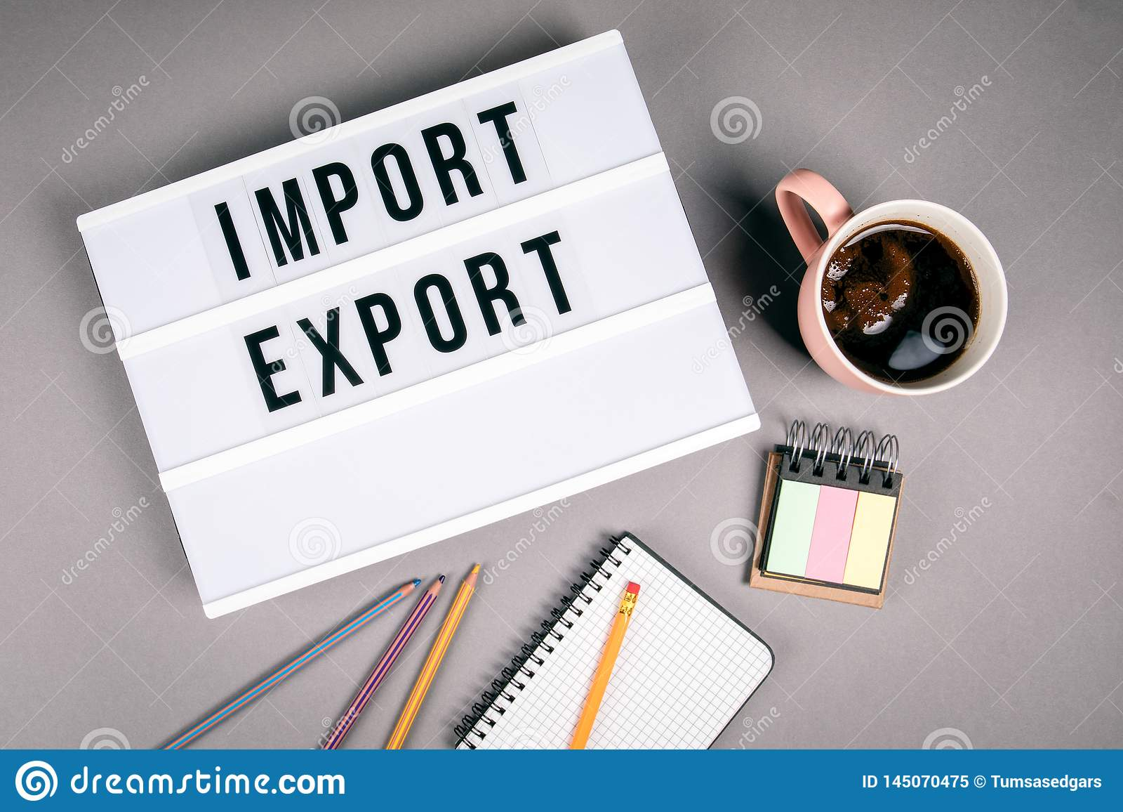 Import och export Text i ljus ask