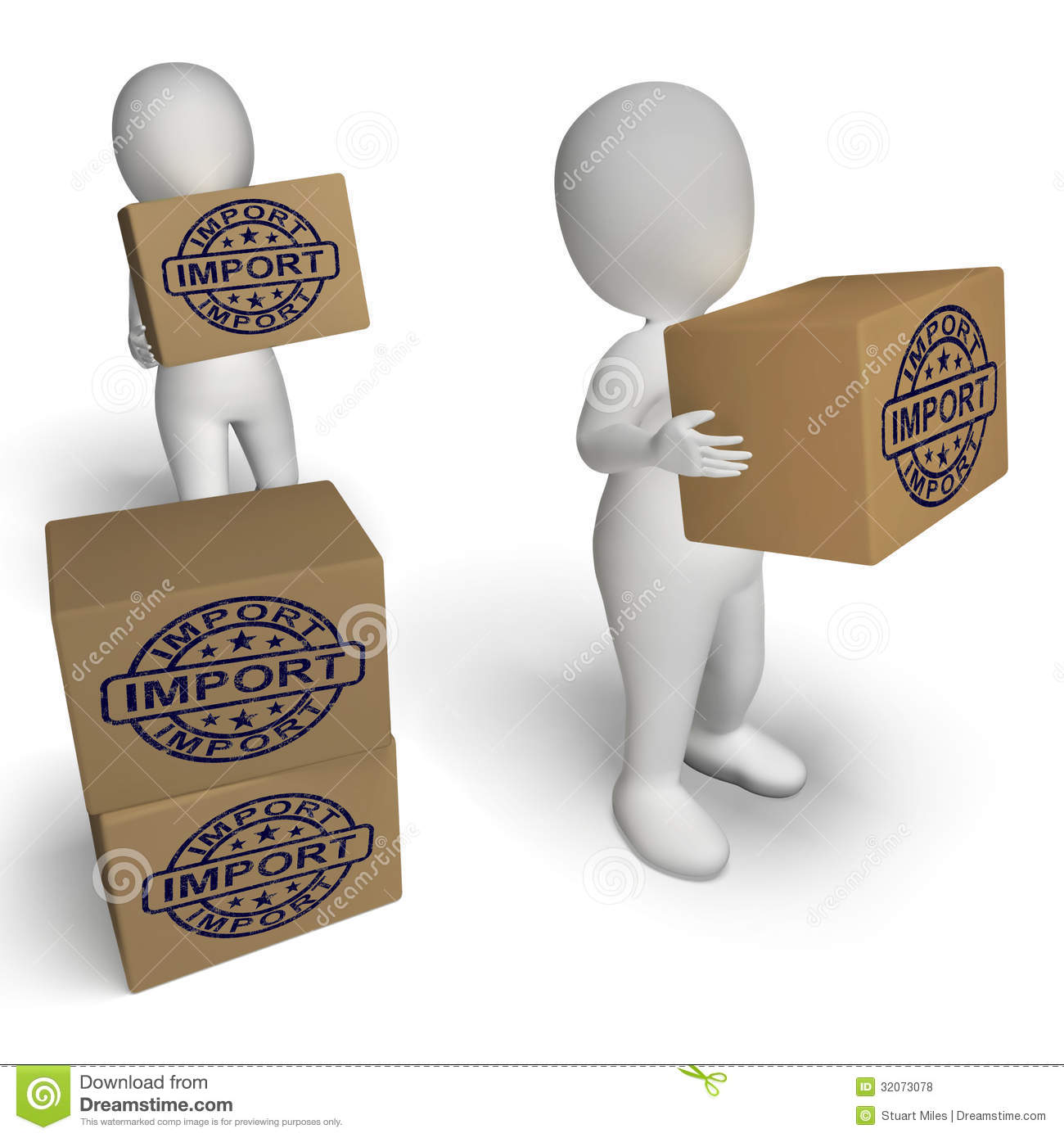 import stamp on boxes shows importing goods and commodities