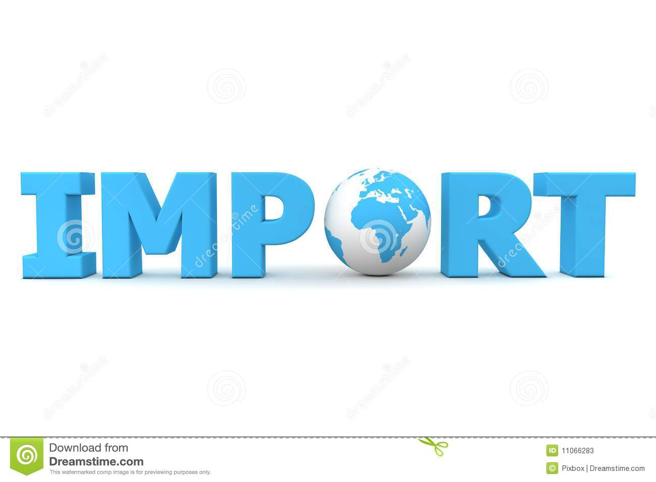 Blue word Import with 3D globe replacing letter O.