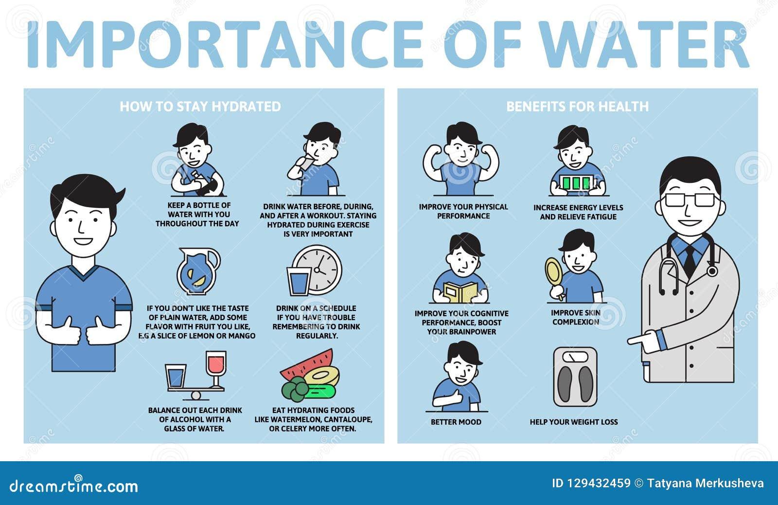 Importance d infographics de l eau Avantages pour la santé Affiche de l information avec le texte et le caractère Vecteur plat