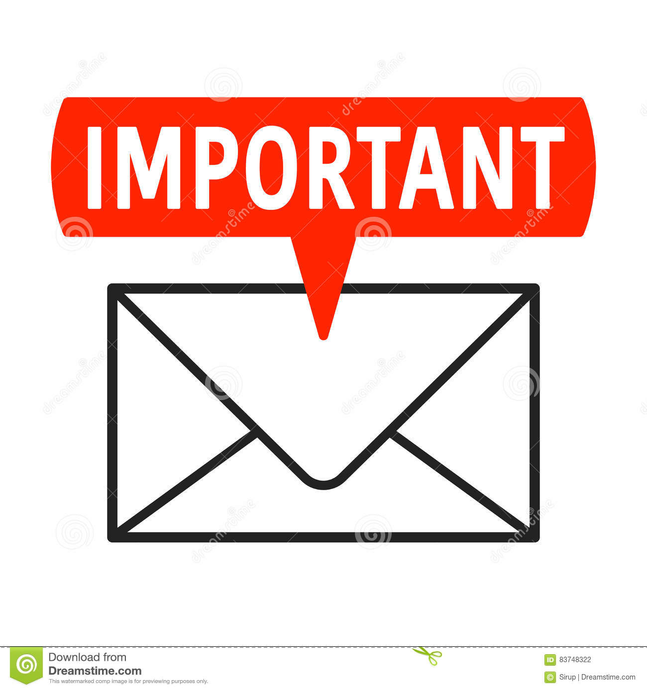 Important Mail Icon With Label And Envelope Stock Vector