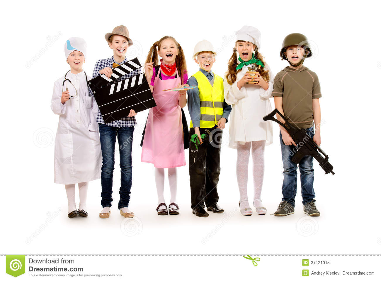 Dressed in costumes of different professions isolated over white