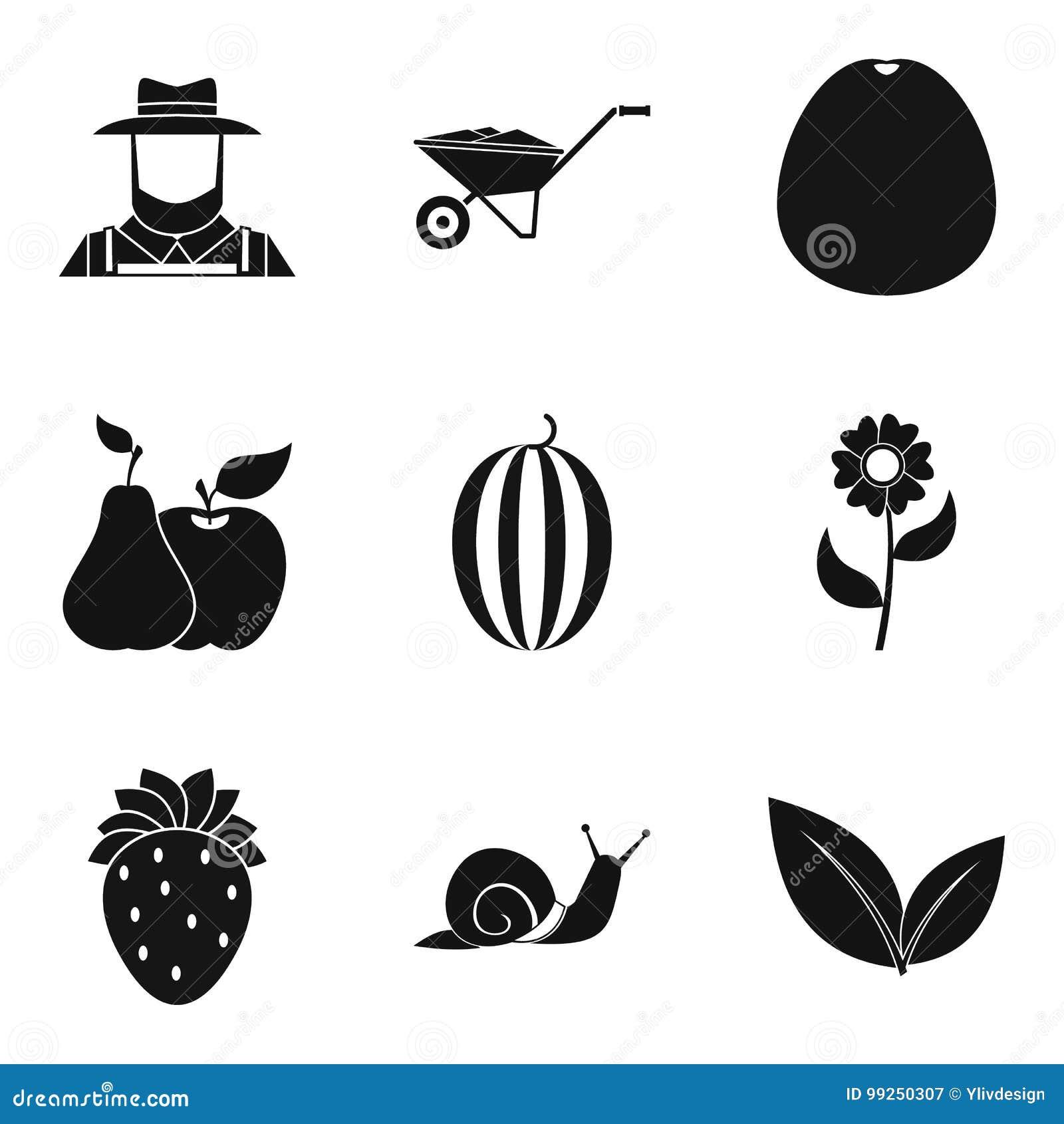 Importar-se com ícones da colheita ajustou-se, estilo simples