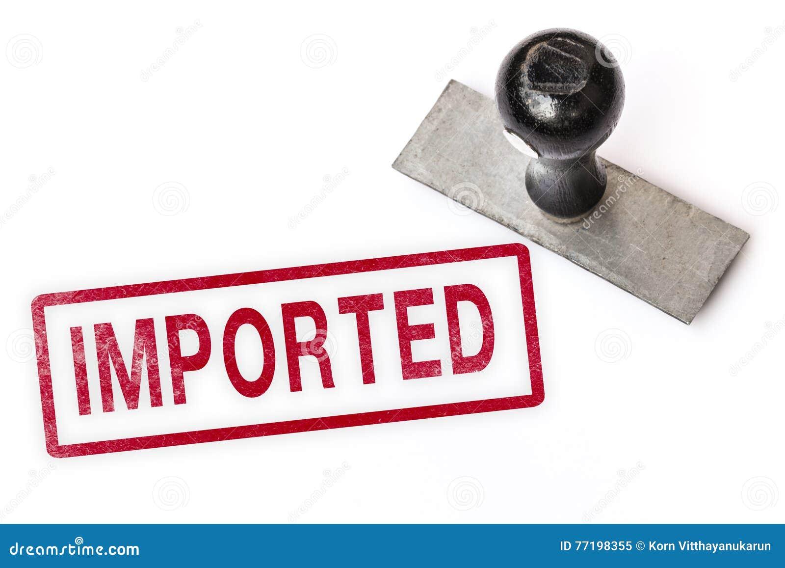 0925ce91ffe4d Importowy czerwony teksta znaka etykietki znaczek z stemplówką odizolowywał  białego papieru tła dokumenty