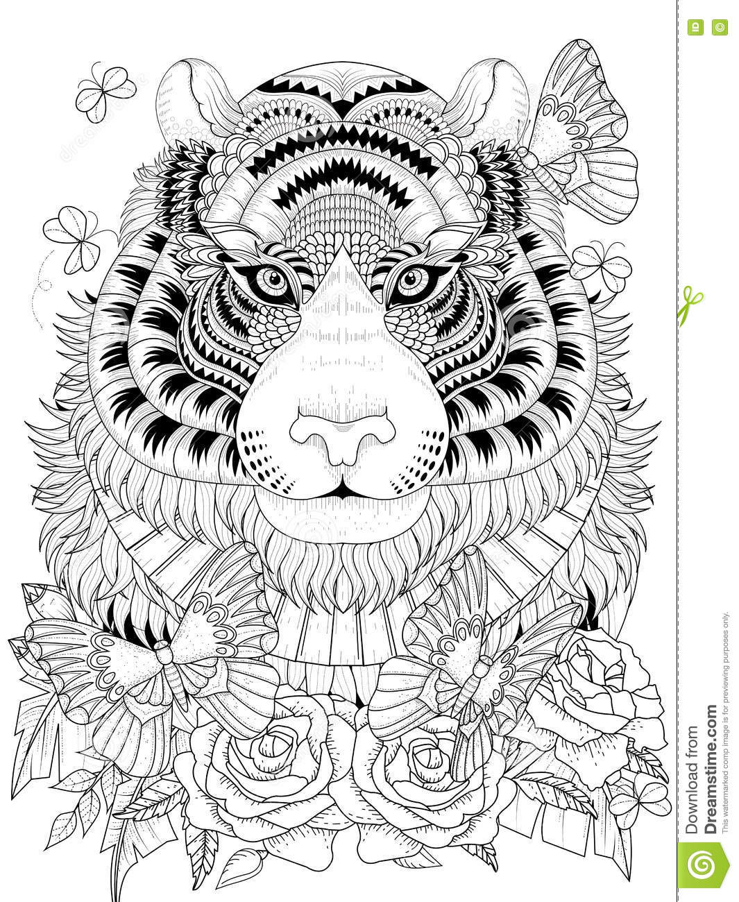 tiger coloring pages for adults Imposing Tiger Adult Coloring Page Stock Vector   Illustration of  tiger coloring pages for adults