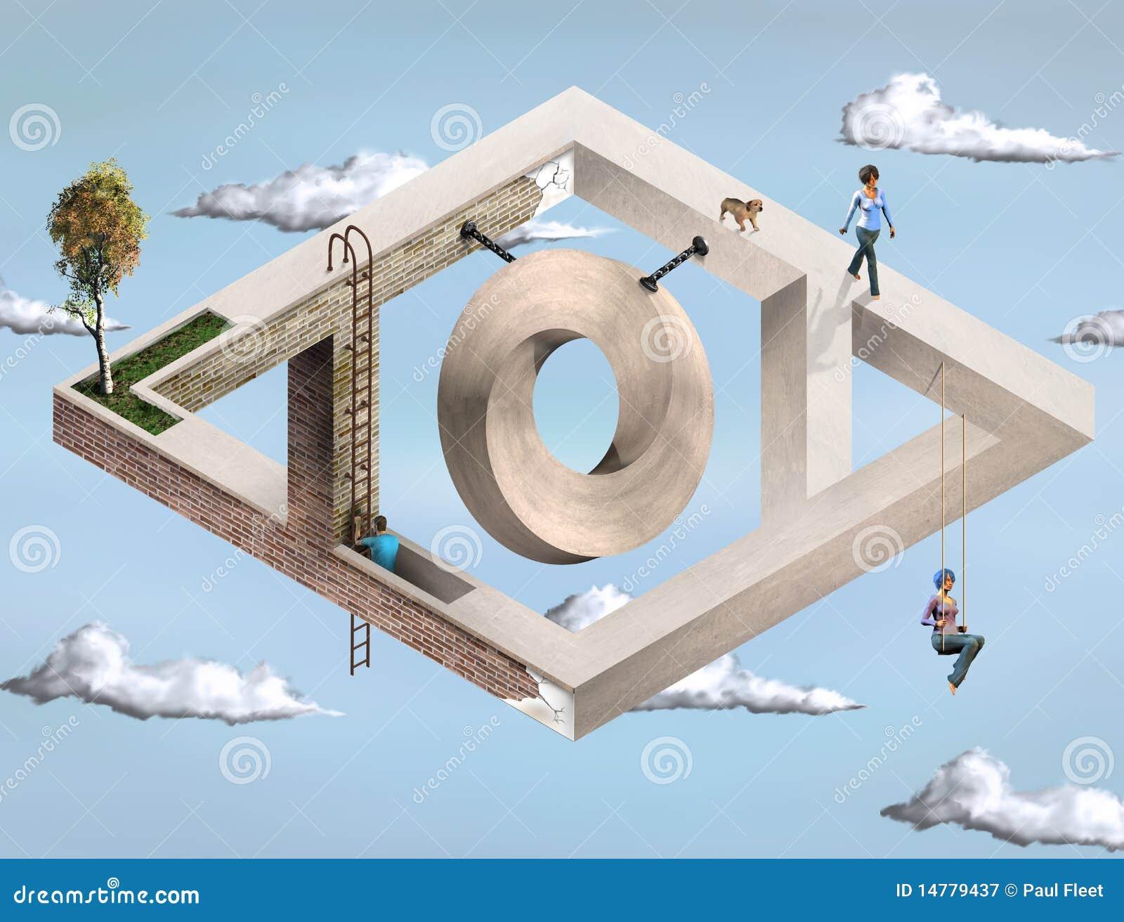 Impossible geometric architecture stock illustration for Architecture impossible