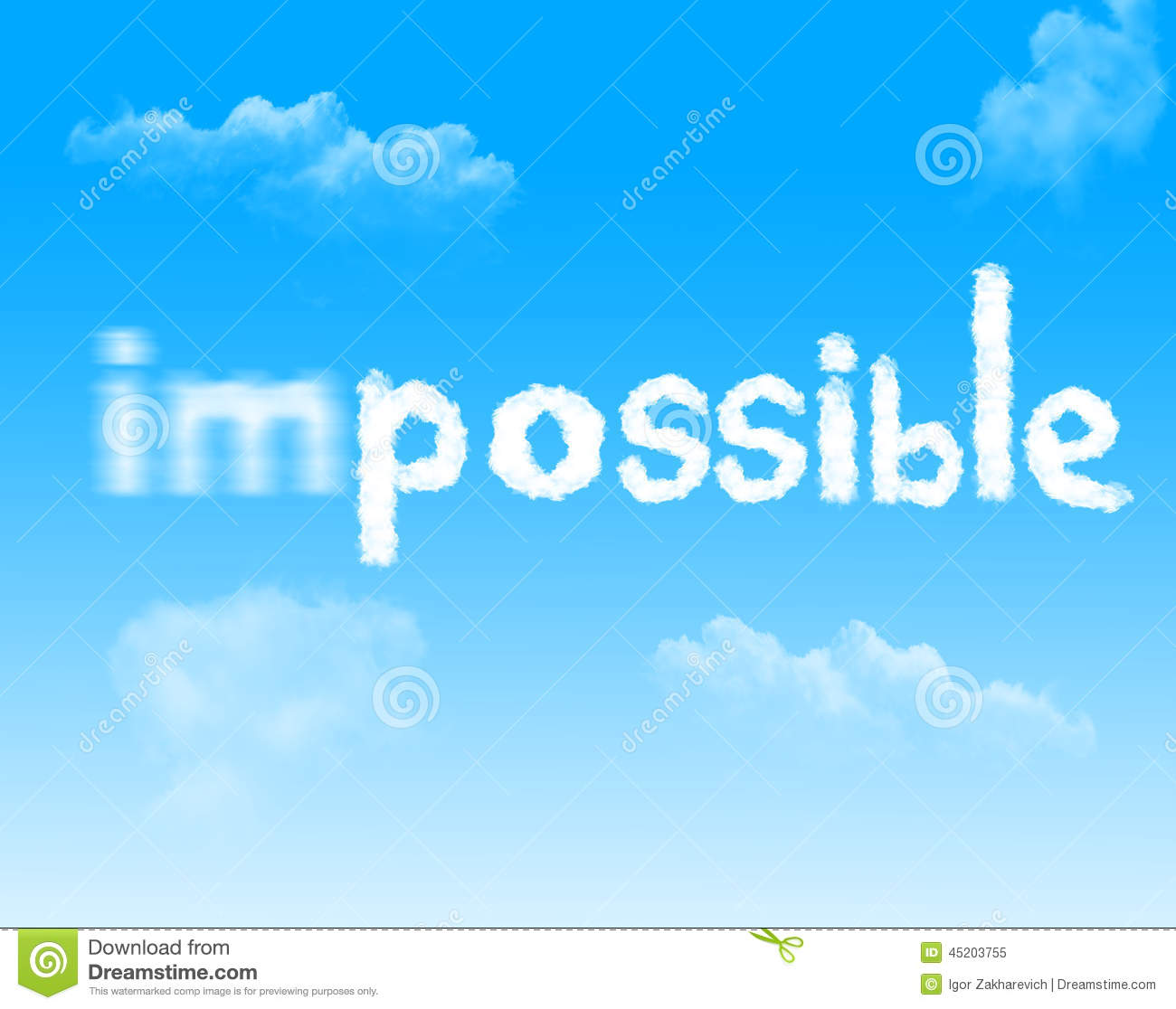Impossible into possible cloud icon with design on blue for Architecture impossible