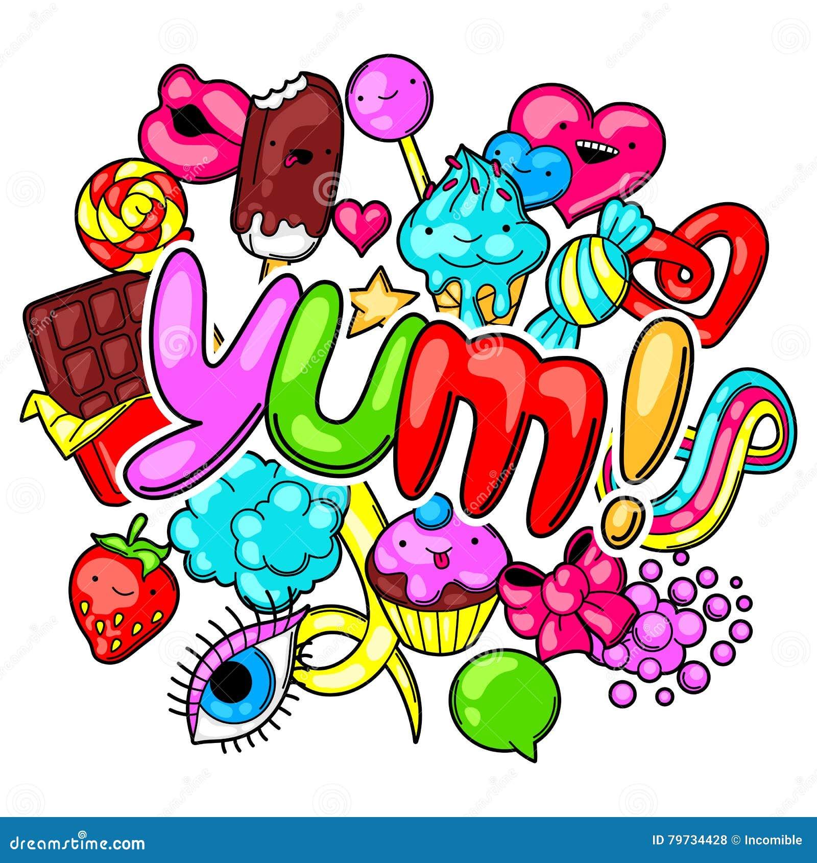 Impresión de Kawaii con los dulces y los caramelos Dulce-materia loca en estilo de la historieta