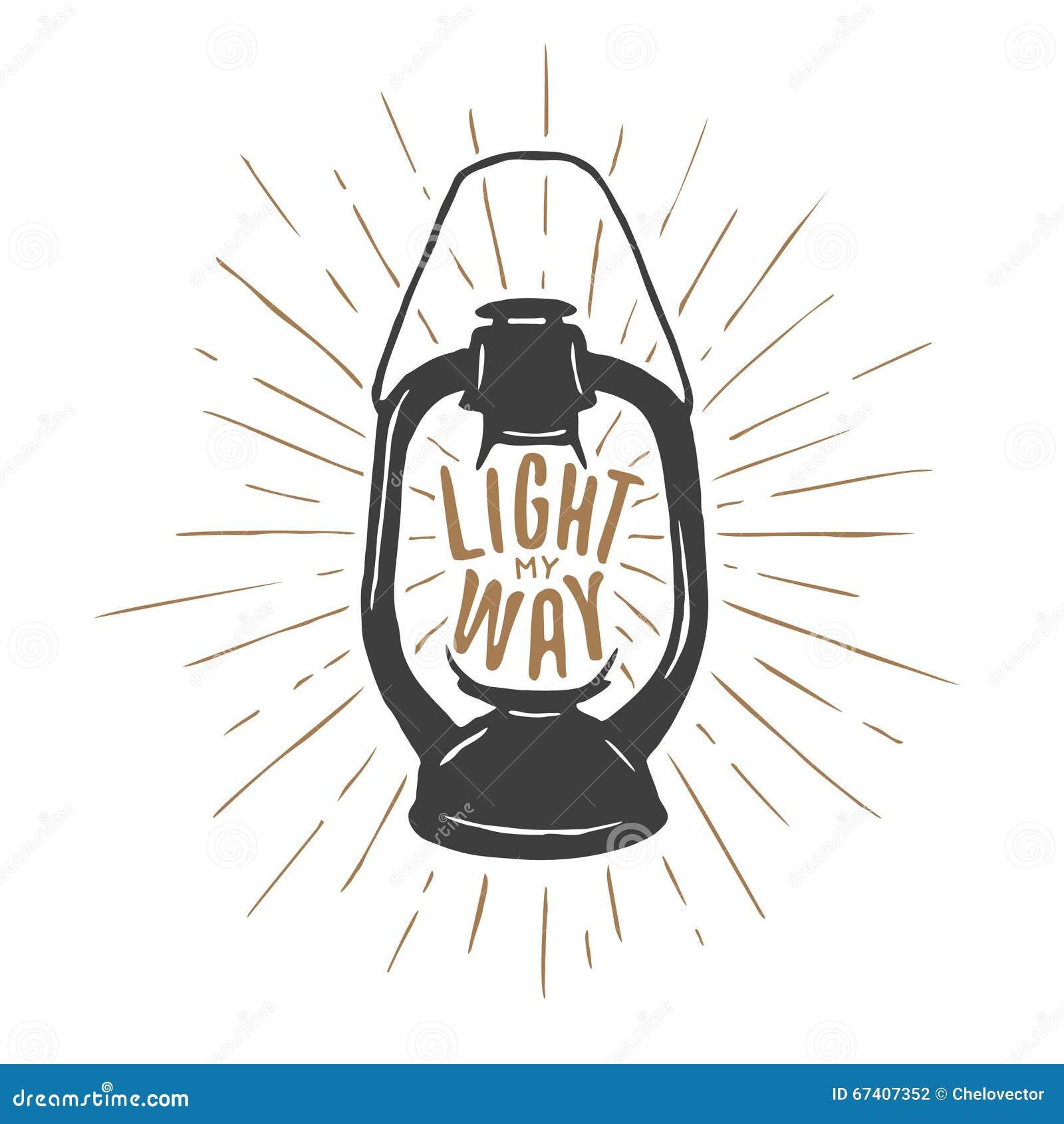 Impresión de la camiseta del vintage con la lámpara y la cita de aceite Encienda mi manera Ilustración del vector