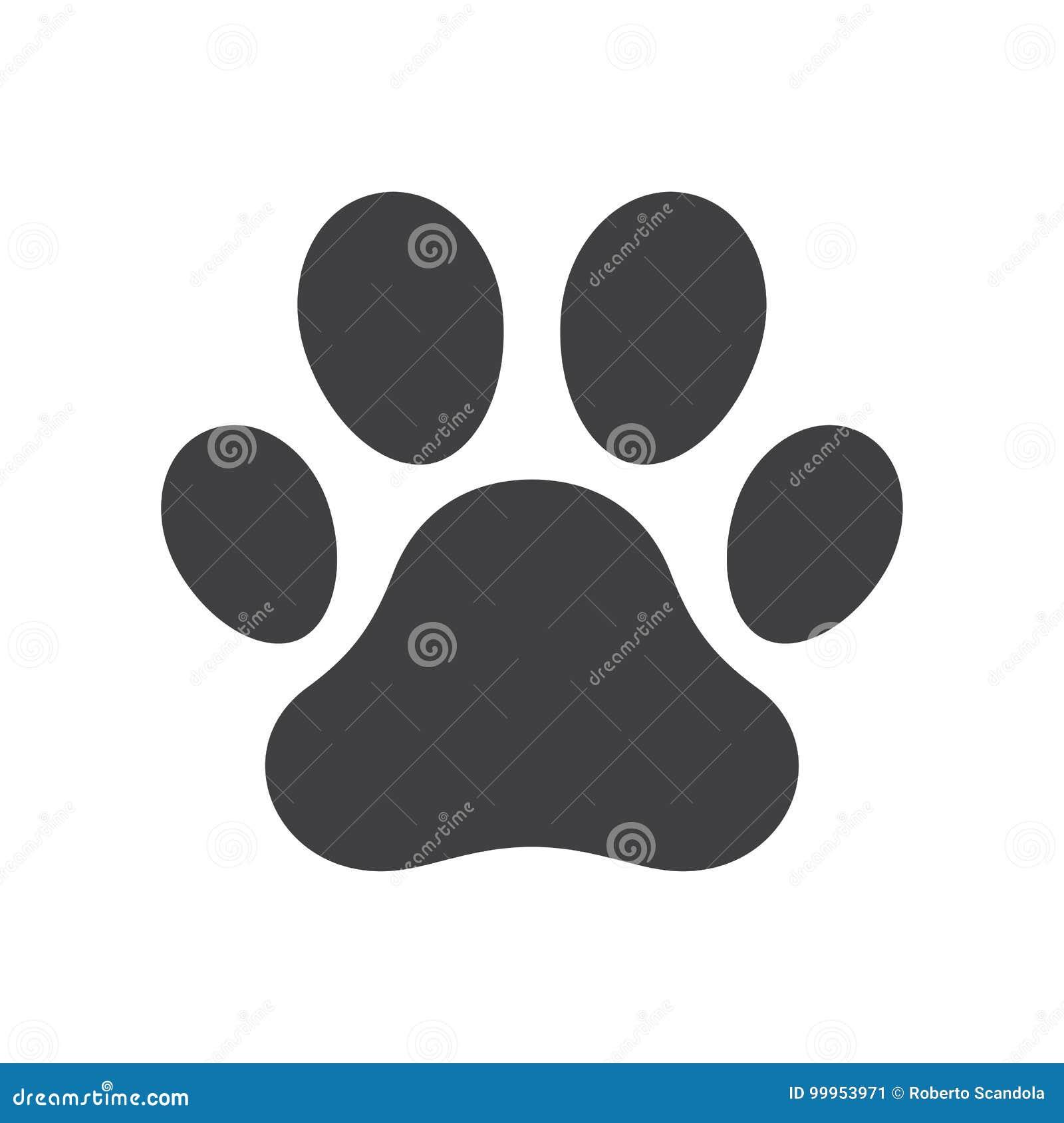 Impresión de la pata del perro del vector