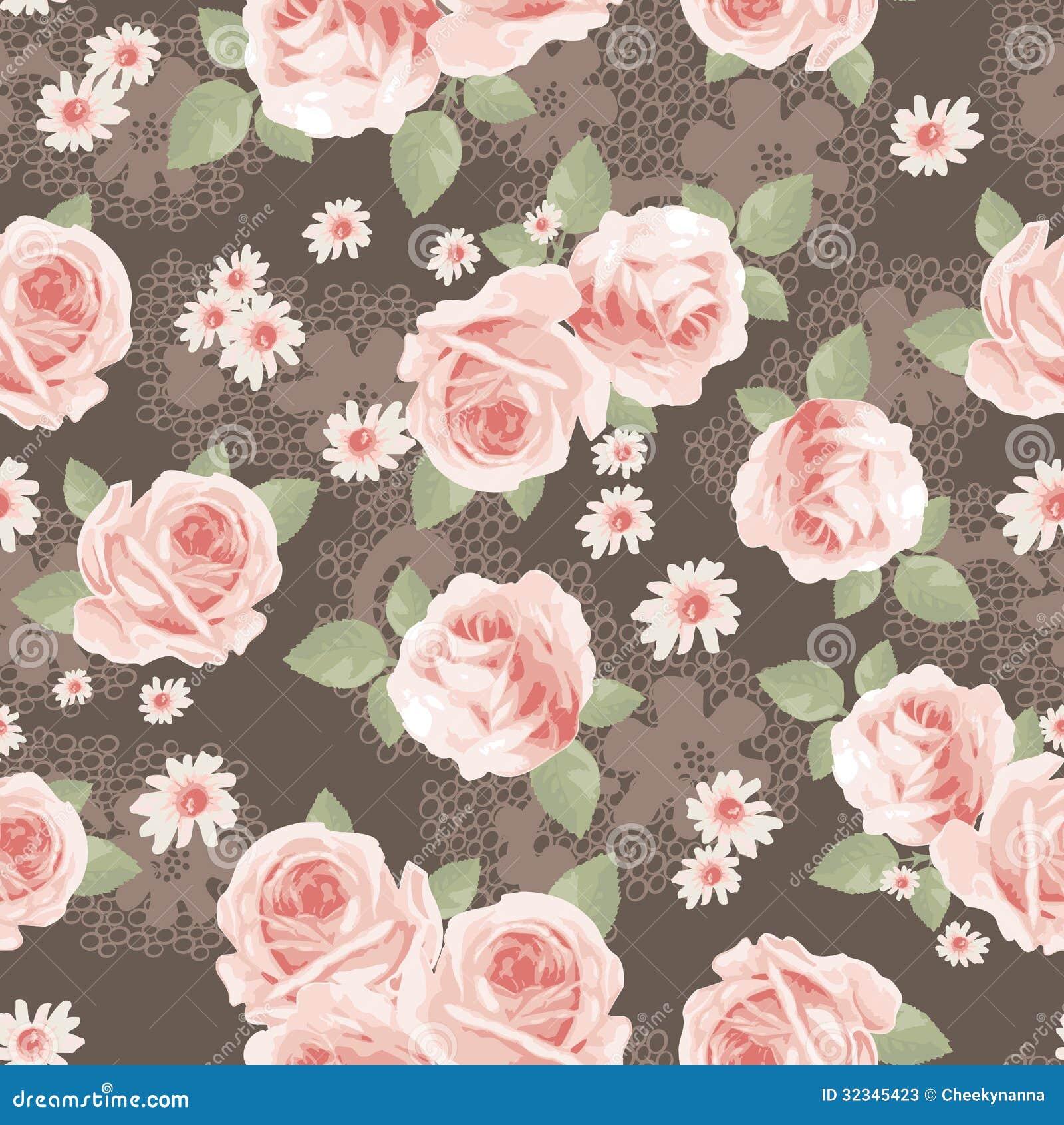 Impresion De Las Rosas Del Vintage Ilustracion Del Vector