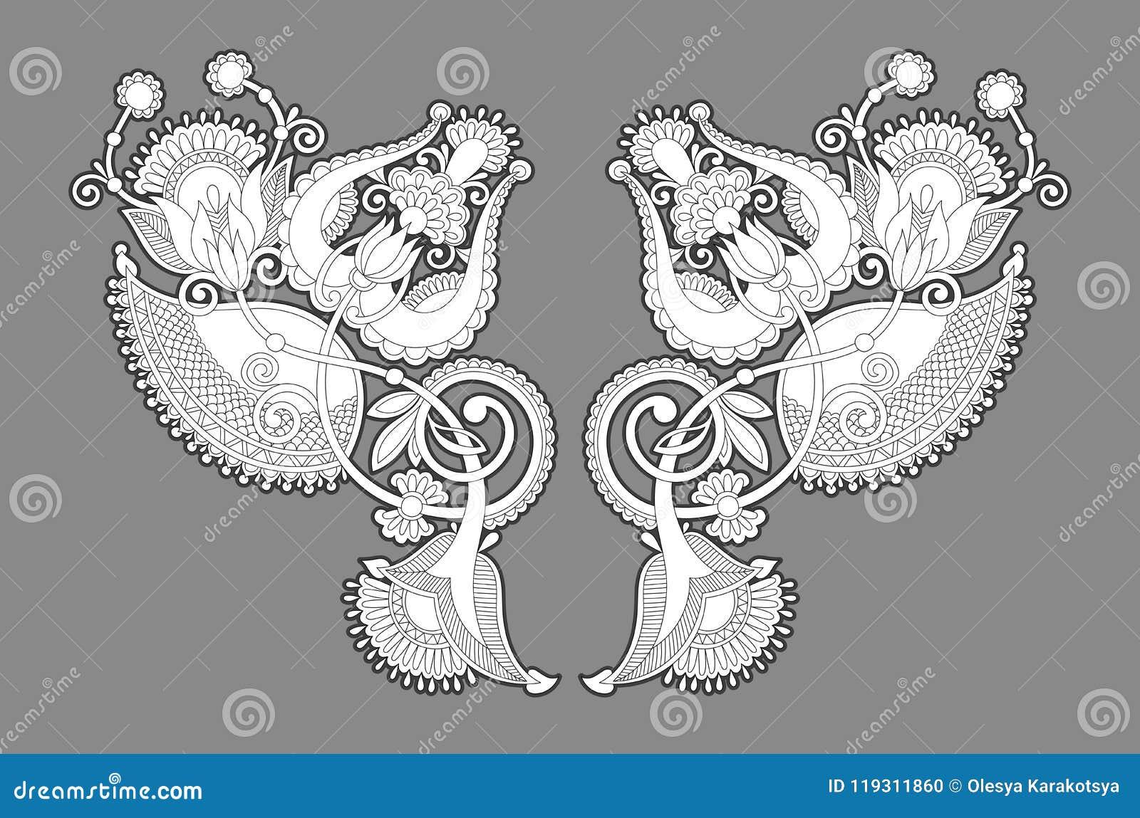 Impresión del bordado del collar para el diseño de la moda