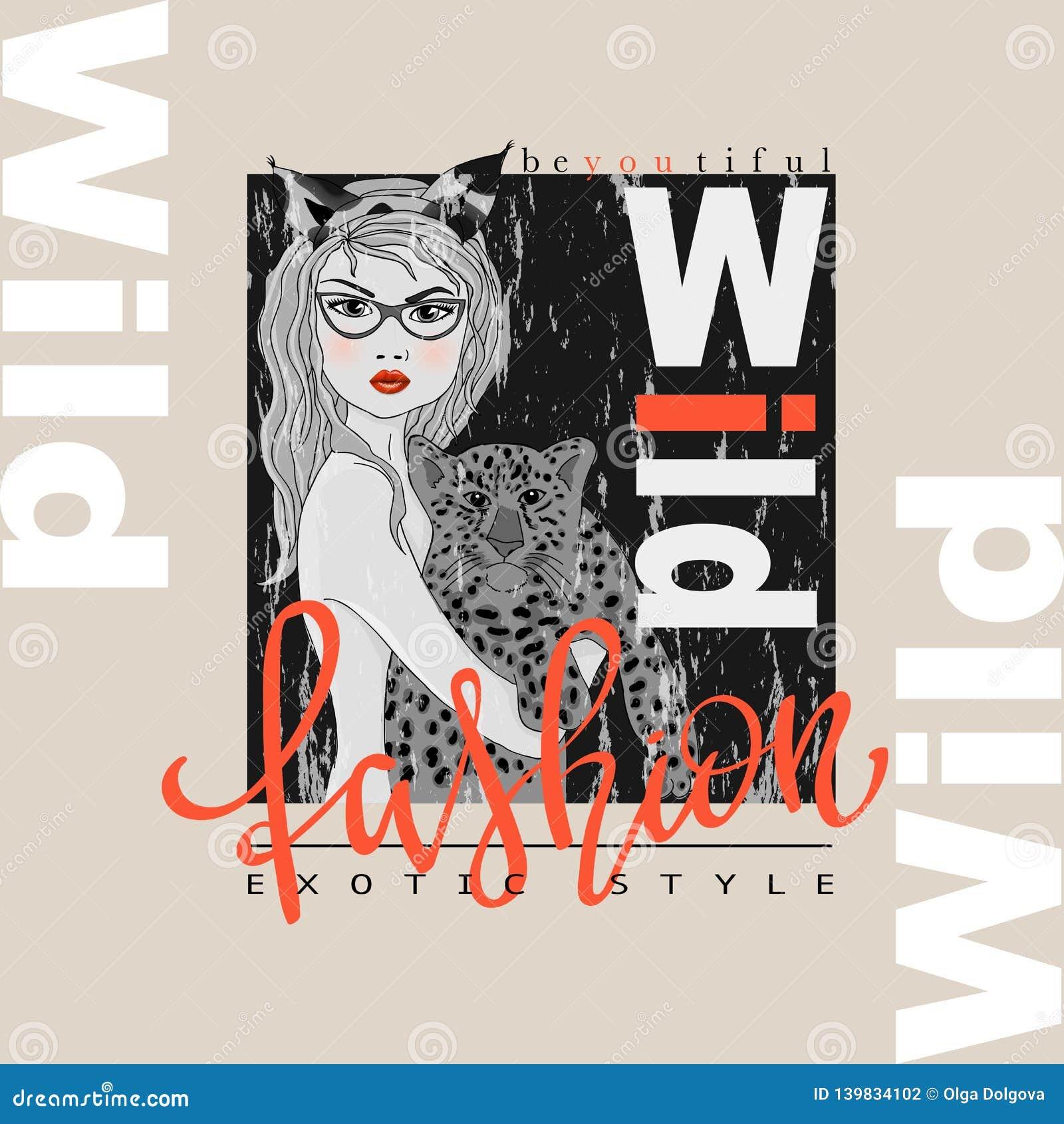 Impresión del lema de la moda con la muchacha y el leopardo del bw