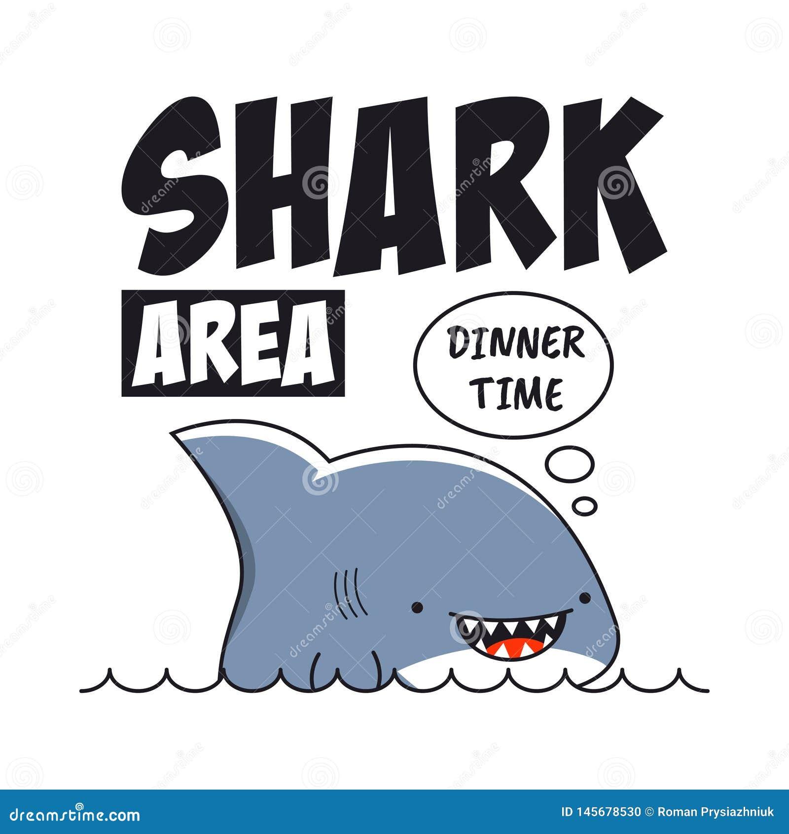 Impresión del tiburón con el lema para la camiseta Tipografía de la camiseta Vector