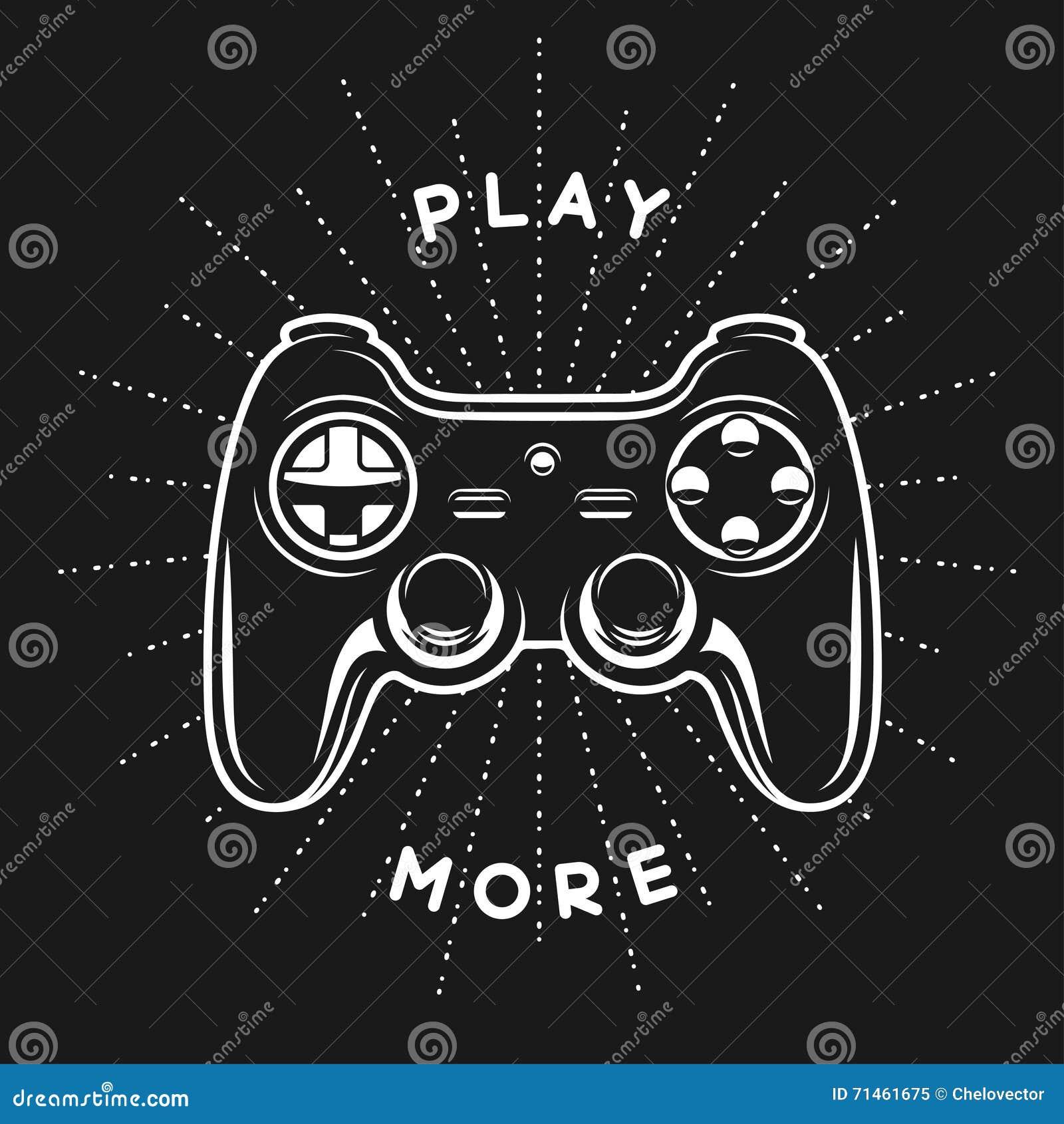 Impresión del vintage con cita Juegue más Gamepad, ejemplo del vector de la palanca de mando