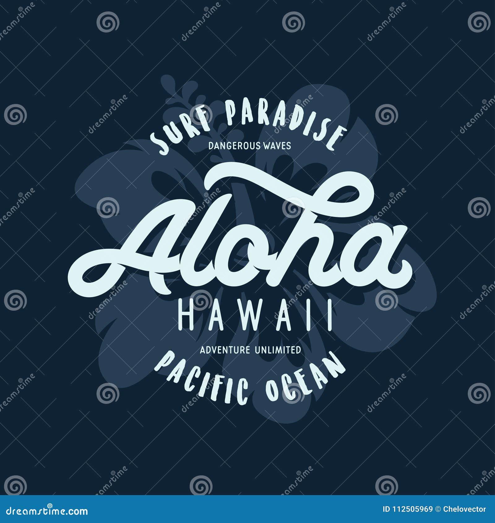 Impresión floral de la camiseta de Hawaii de la hawaiana Ejemplo del vintage del vector