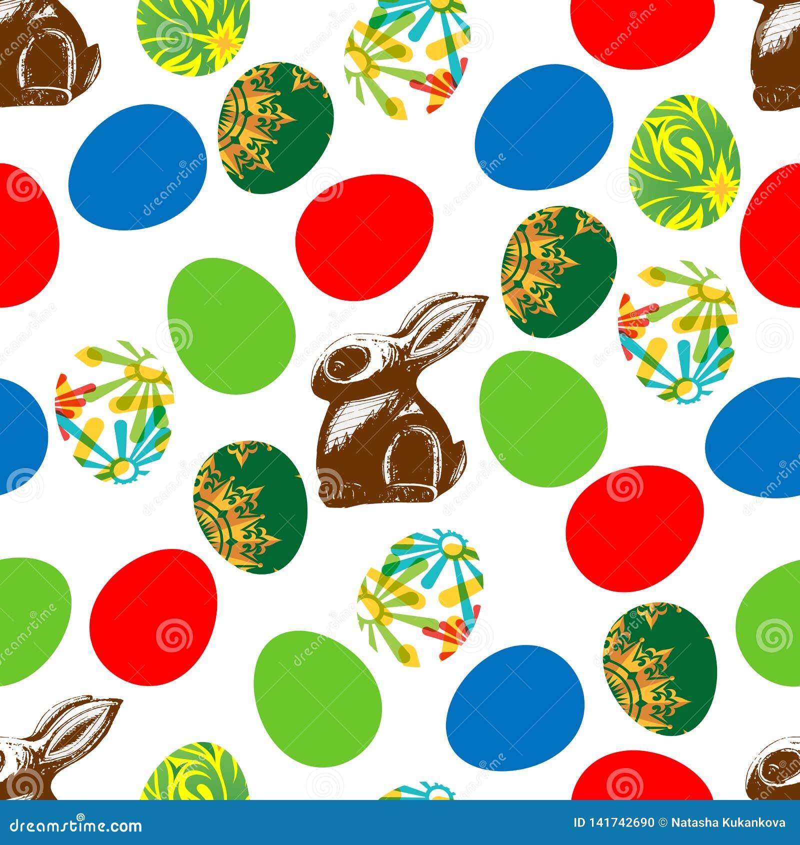 Impresión inconsútil de las liebres y de Pascua del chocolate