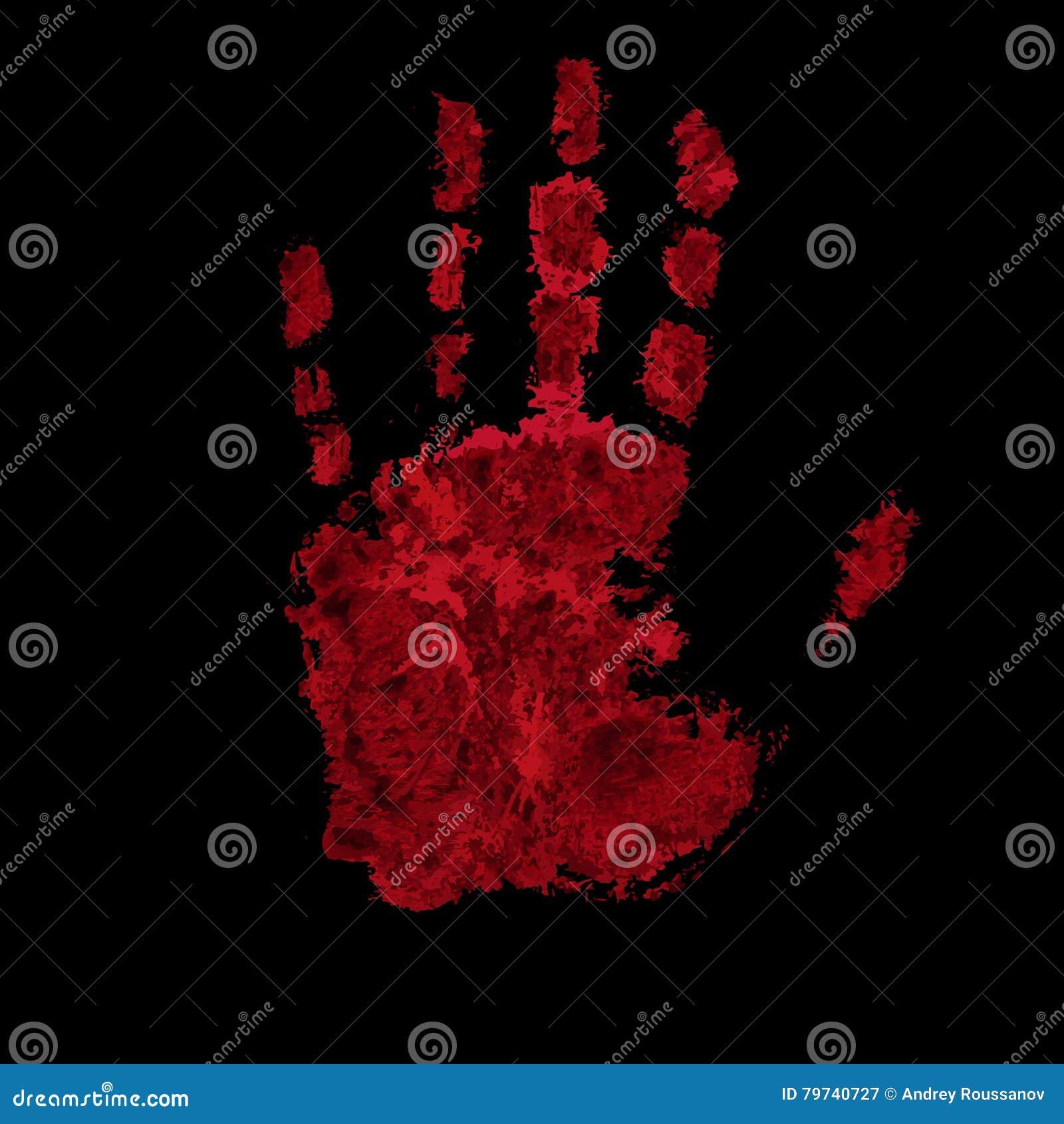 Impresión sangrienta de la mano aislada en fondo negro