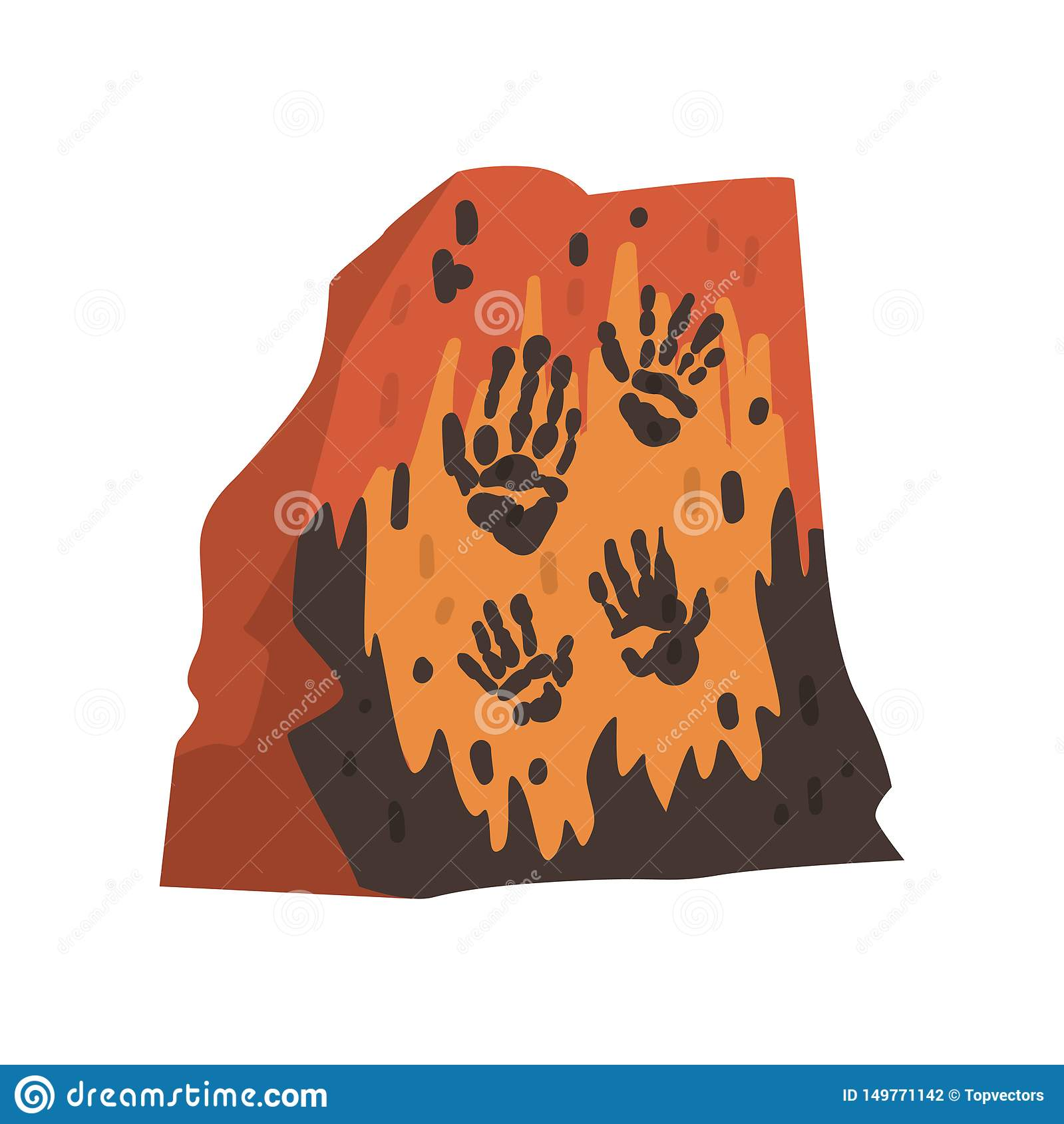 Impresiones de las palmas de la gente prehistórica en piedra, dibujos de la cueva, ejemplo del vector de la ciencia de la arqueol