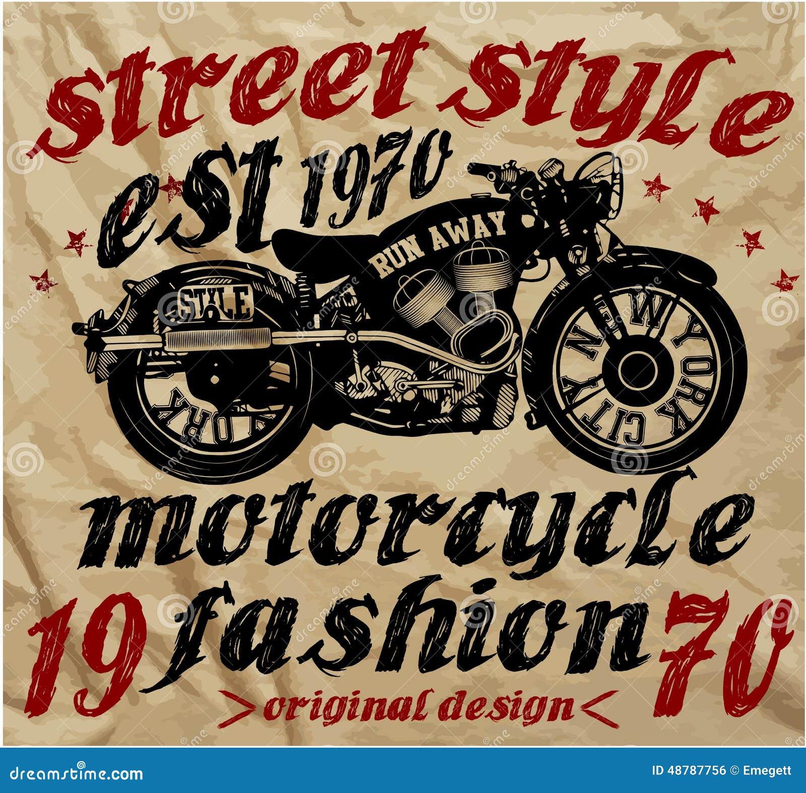 impression de t shirt de dessin de main de course de motocyclette