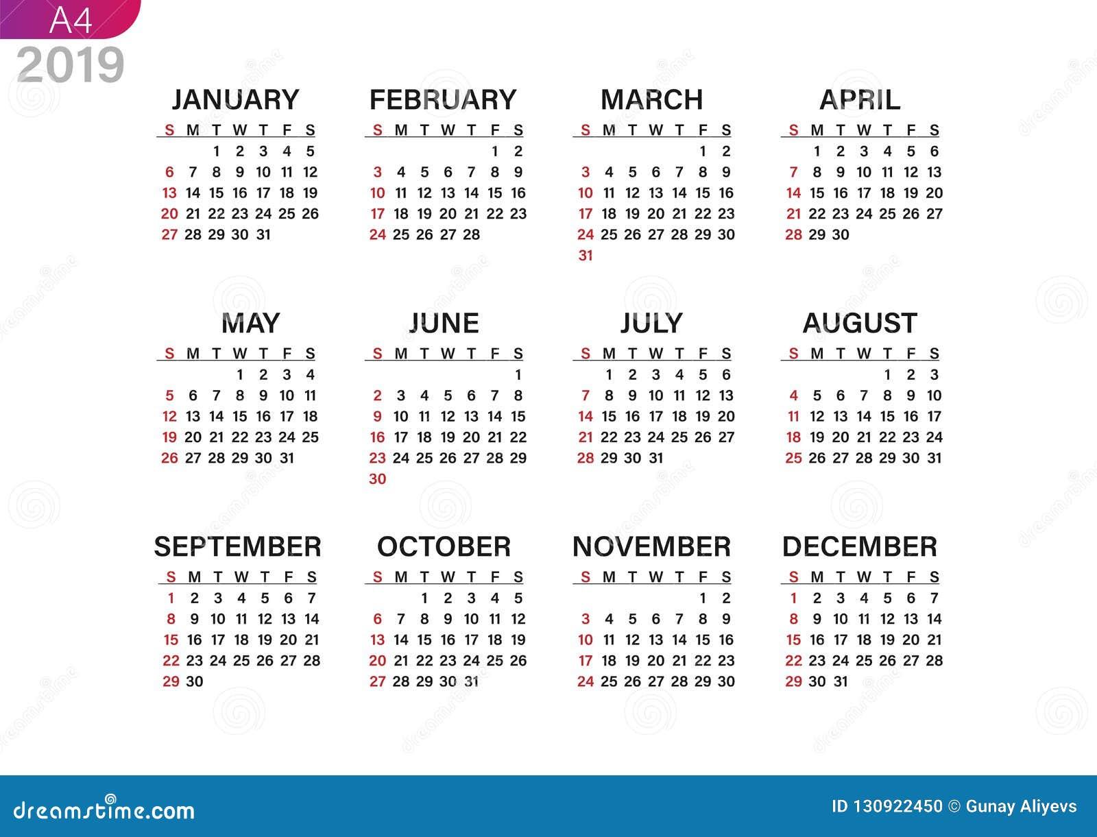 Impression du calendrier pour 2019