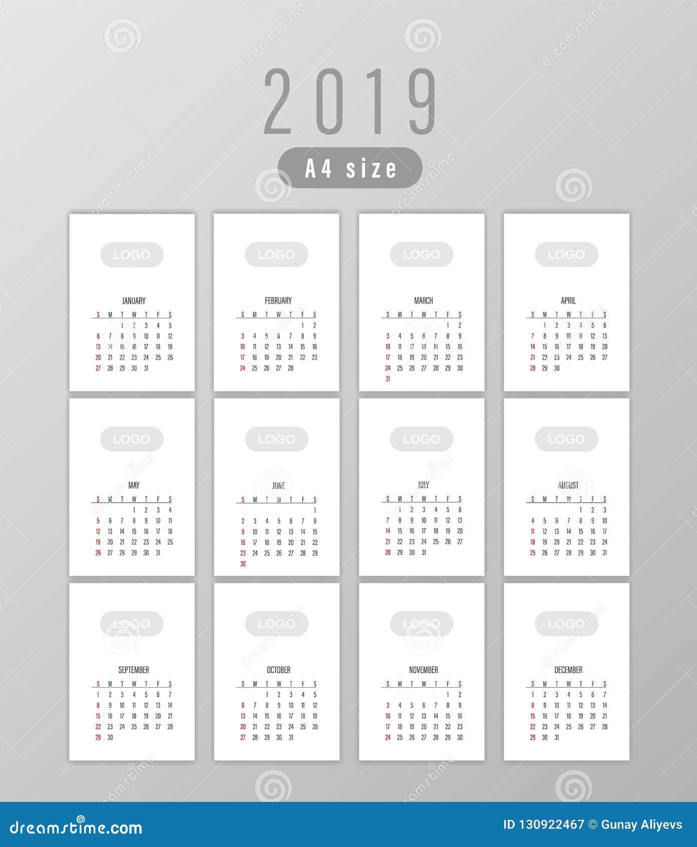 Calendrier Impression.Impression Du Calendrier Pour 2019 Illustration Stock
