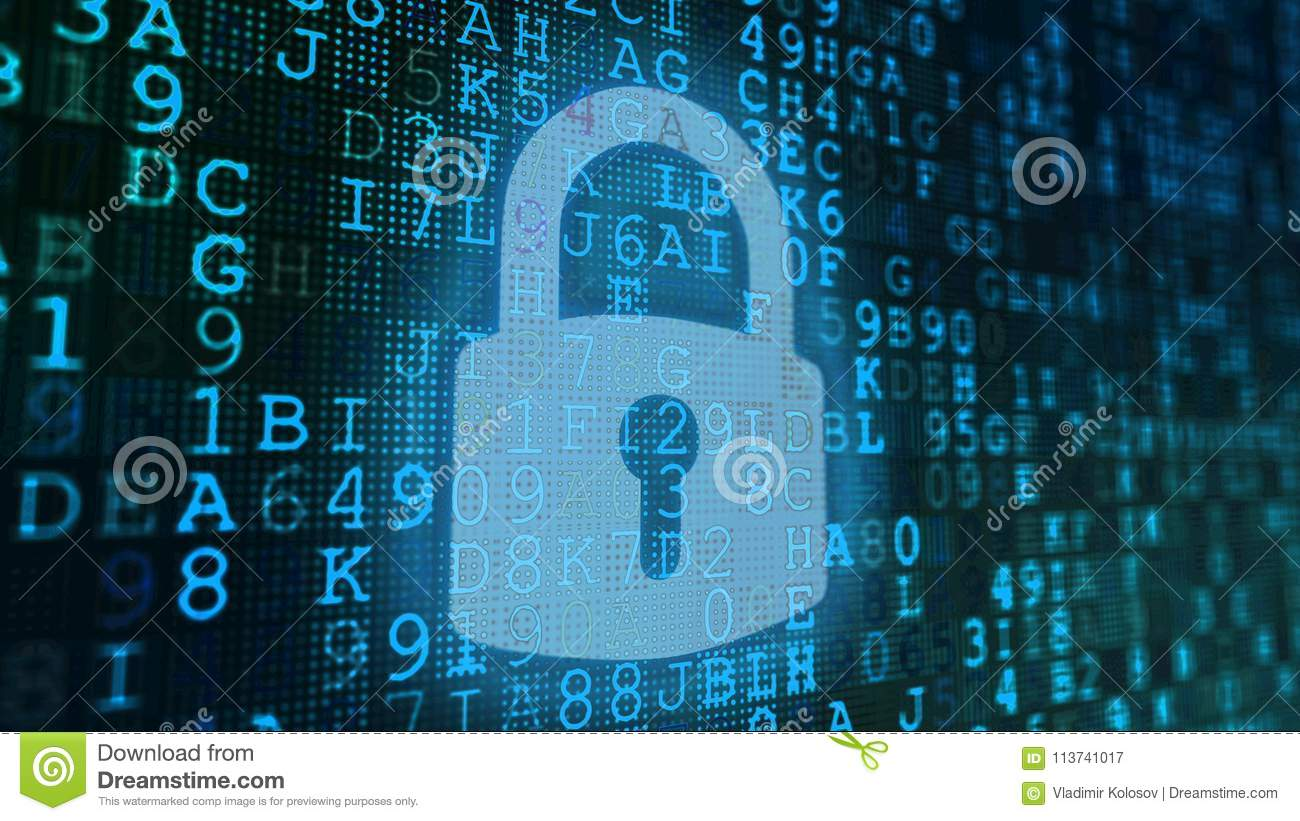 Codes And Lock Screen With Blue Symbols Stock Illustration