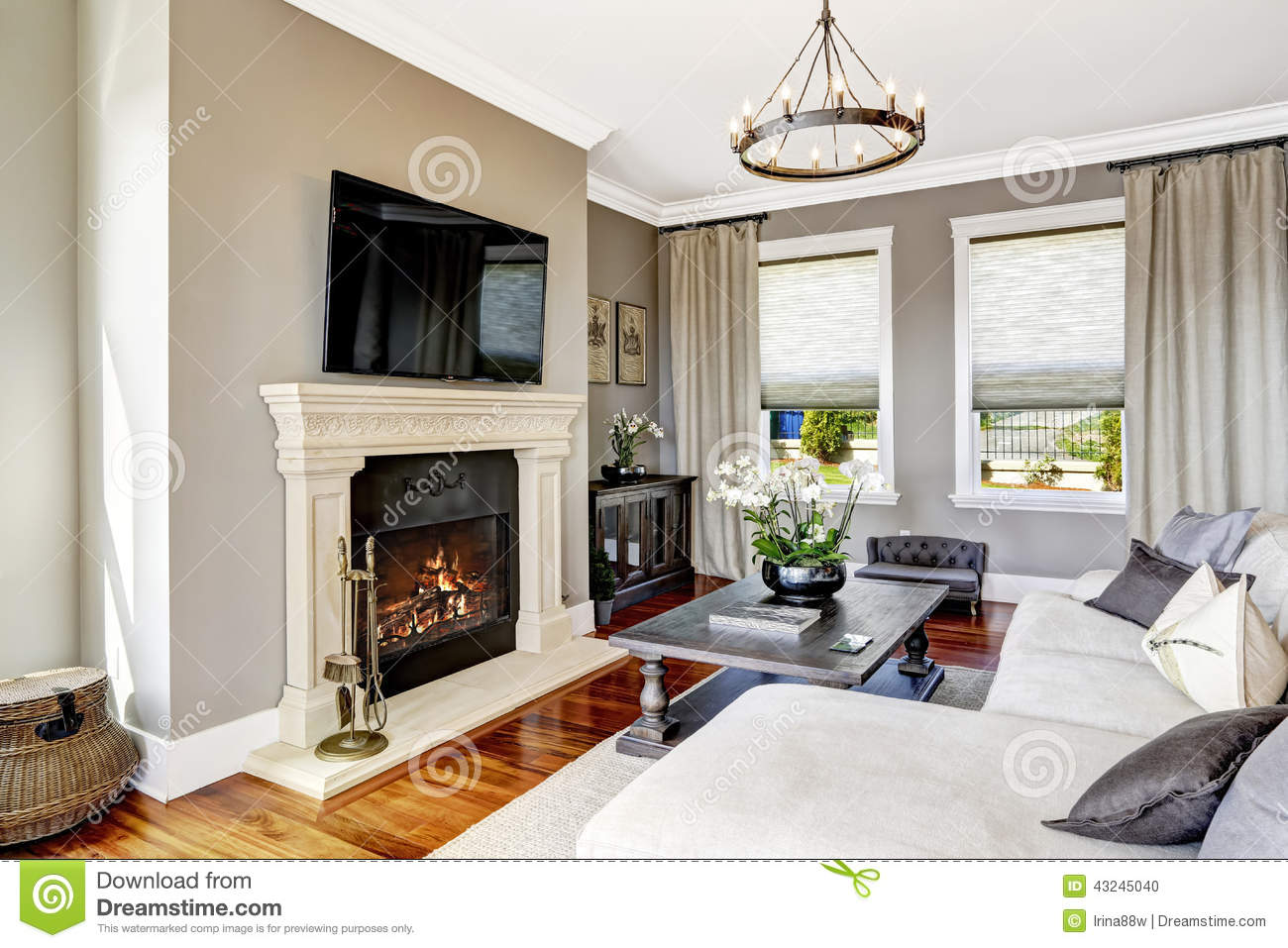 Bright luxury living room with fireplace and tv, white cozy couch and ...