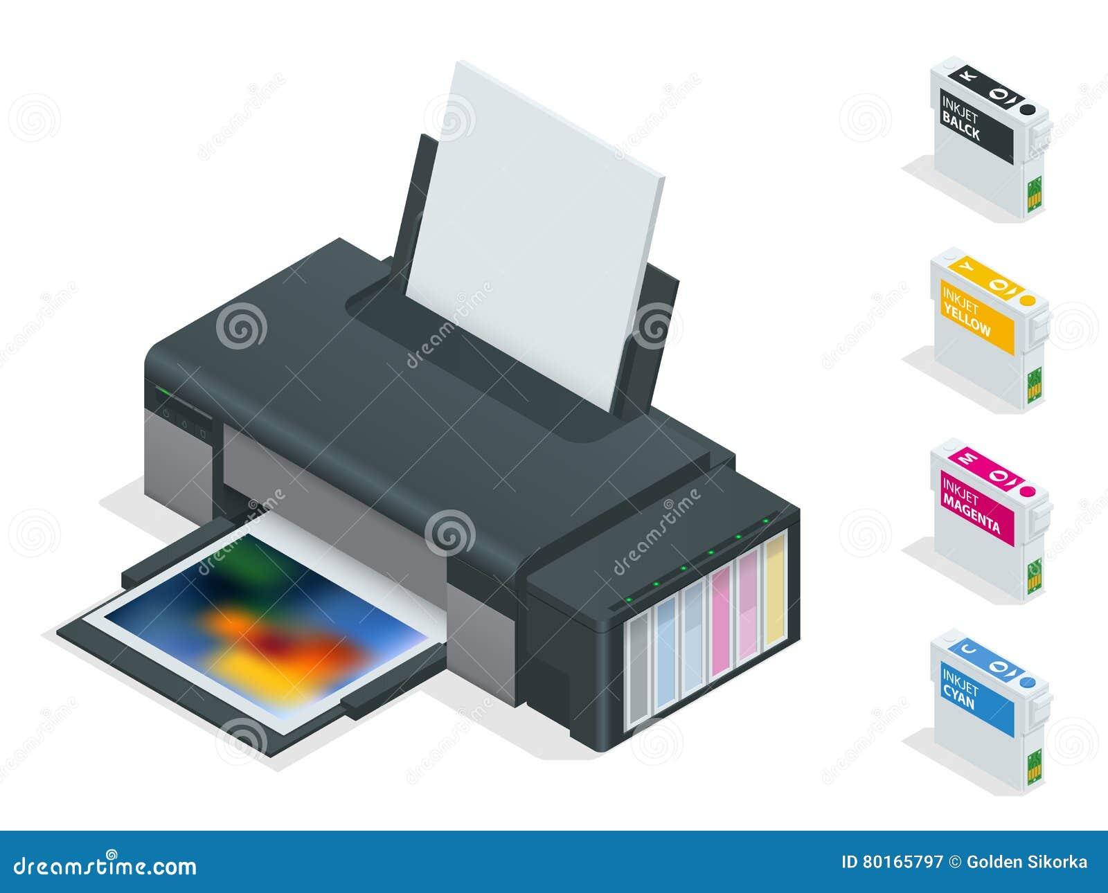 Impressora a jato de tinta da foto A impressora de cor imprime a foto no fundo isolado branco Quatro cartuchos recarregávéis vazi