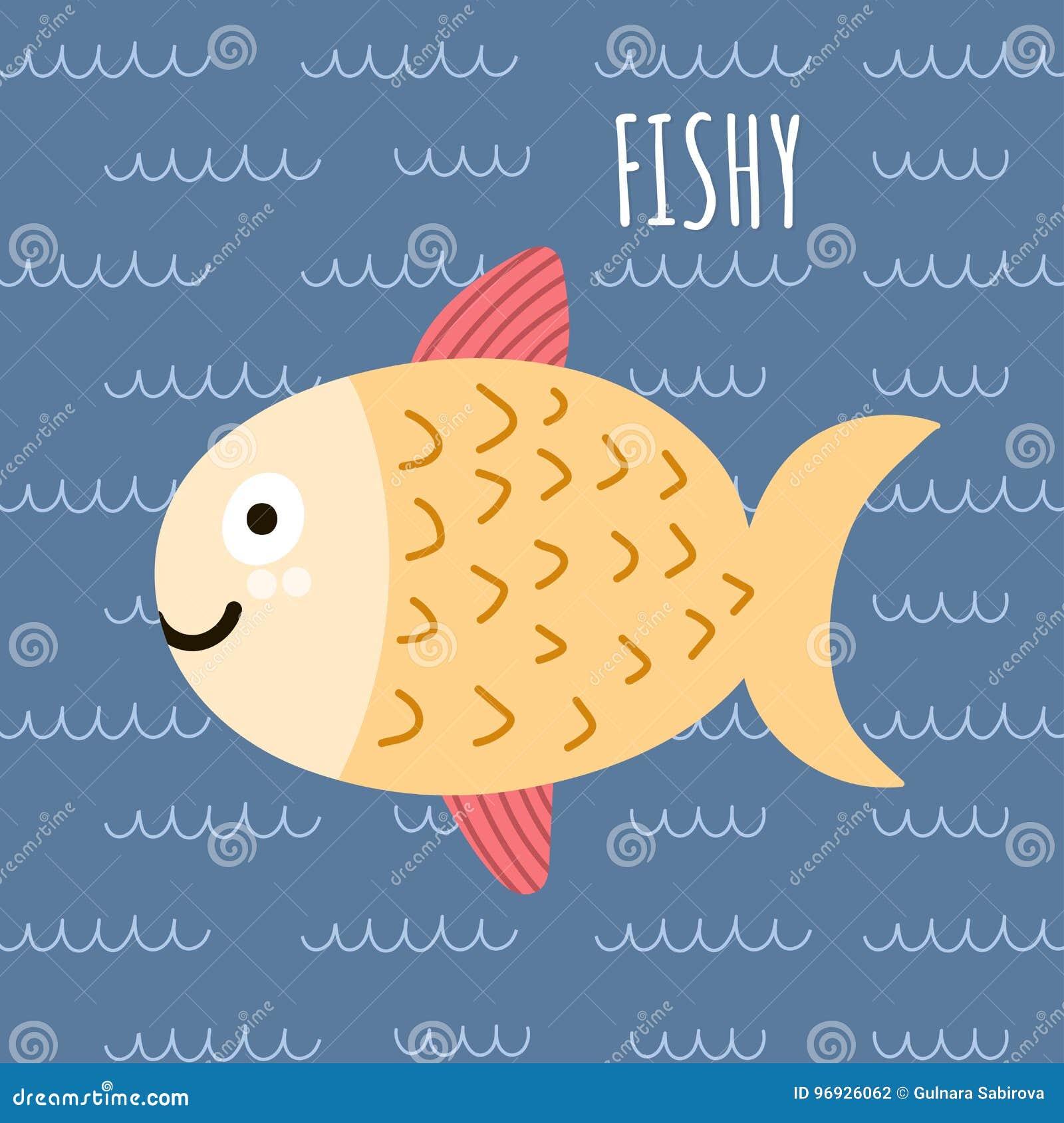 Imprima con pescados y un texto lindos a pescado