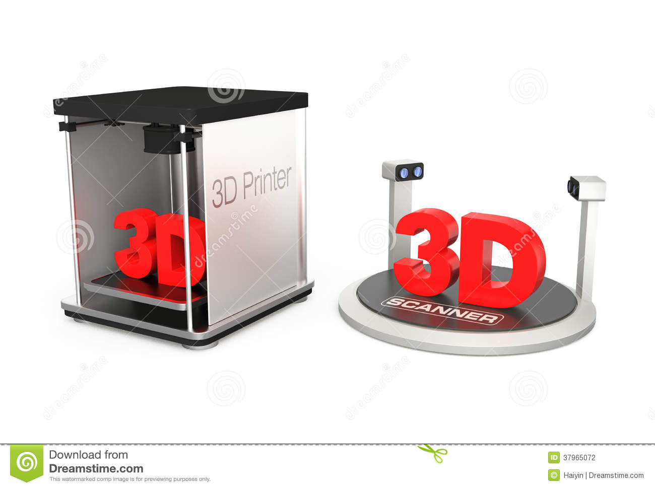 imprimante 3d et scanner 3d illustration stock. Black Bedroom Furniture Sets. Home Design Ideas