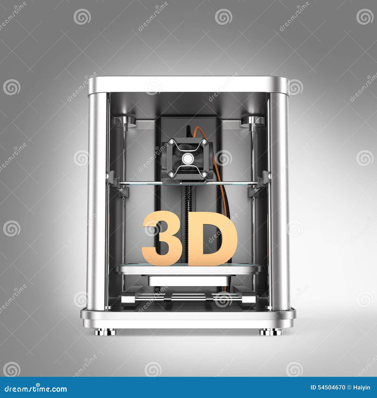 Imprimante 3D et texte 3D solide d isolement sur le fond gris
