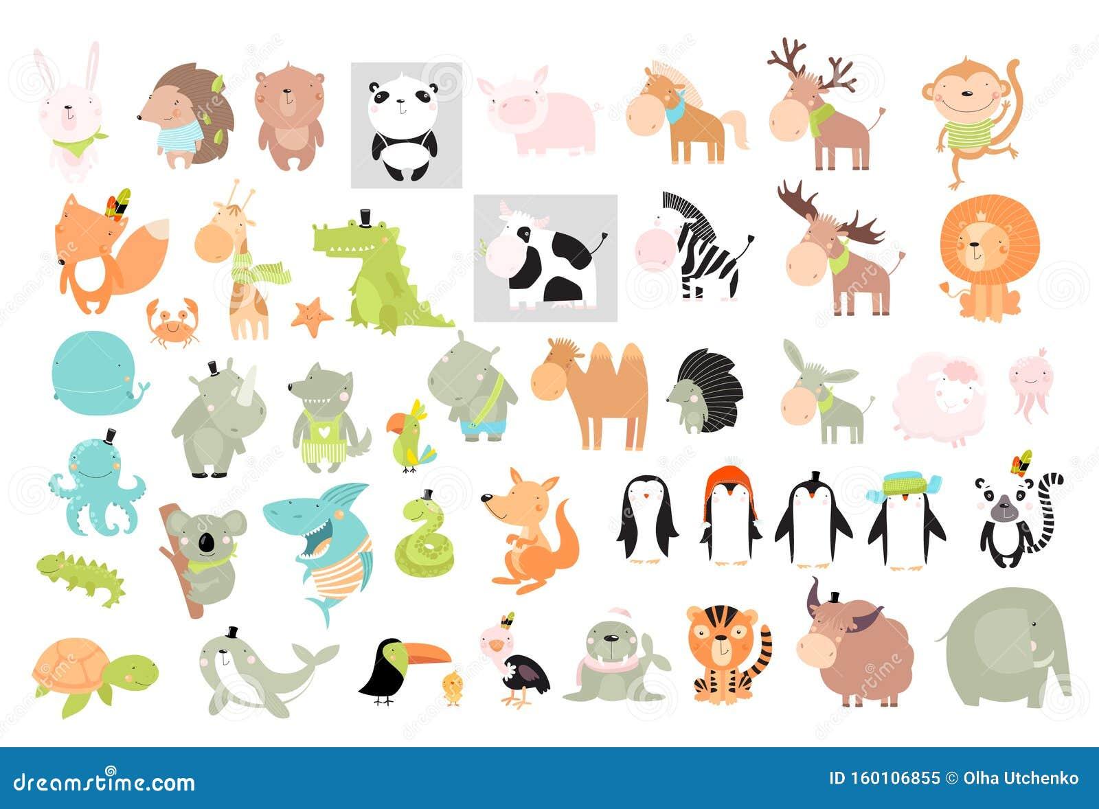Imprimer Grand Ensemble D Animaux Vectoriels Illustration De Vecteur Illustration Du Ensemble Imprimer 160106855