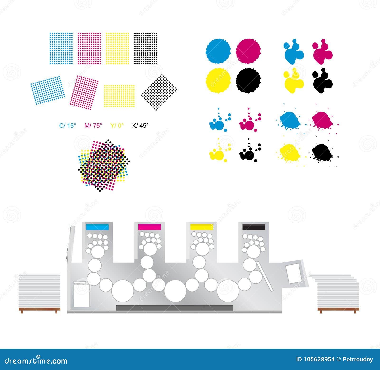 Imprimindo o grupo - rosetas da impressão, máquina de impressão e cmyk