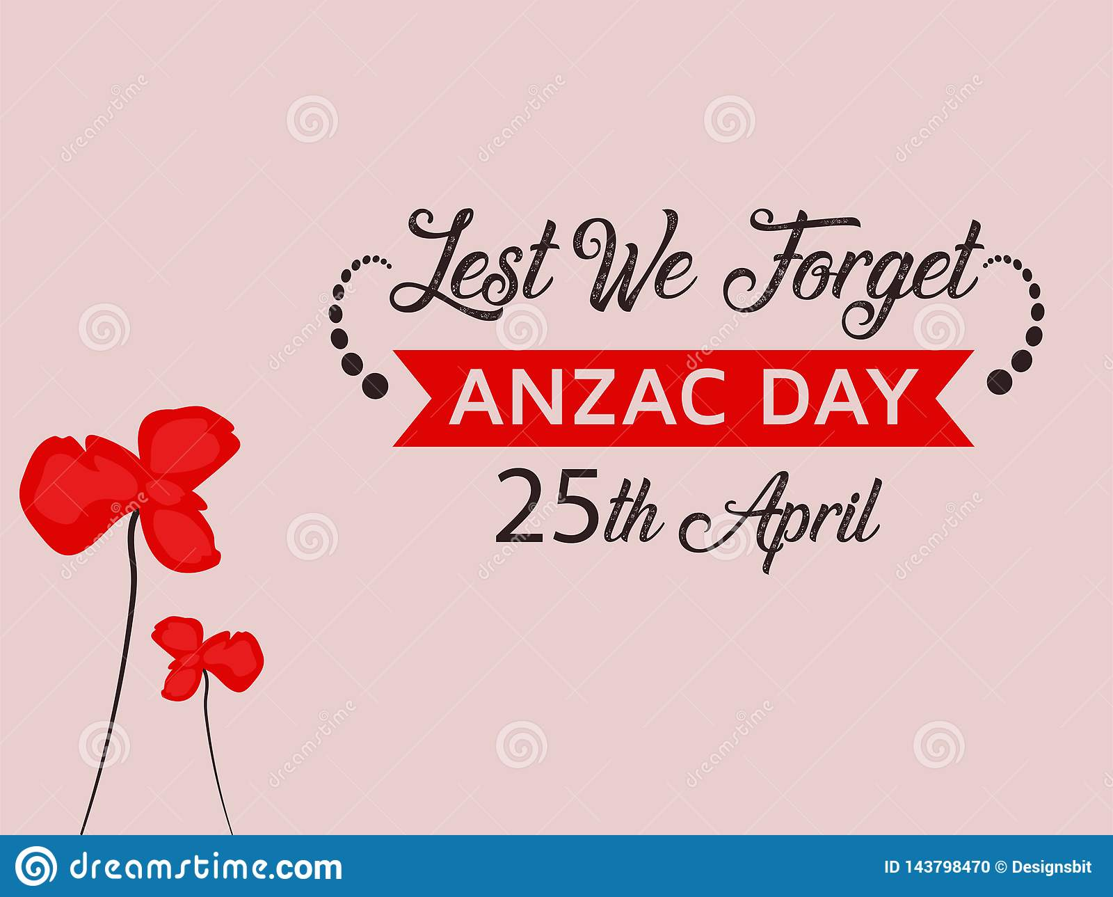 Anzac Day Illustration with nice red poppy flower background