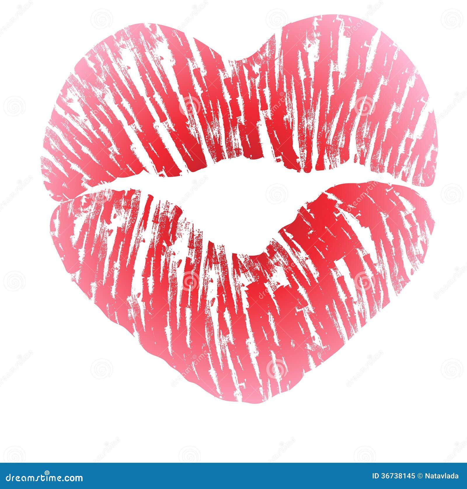 Imprint of heart shaped lips