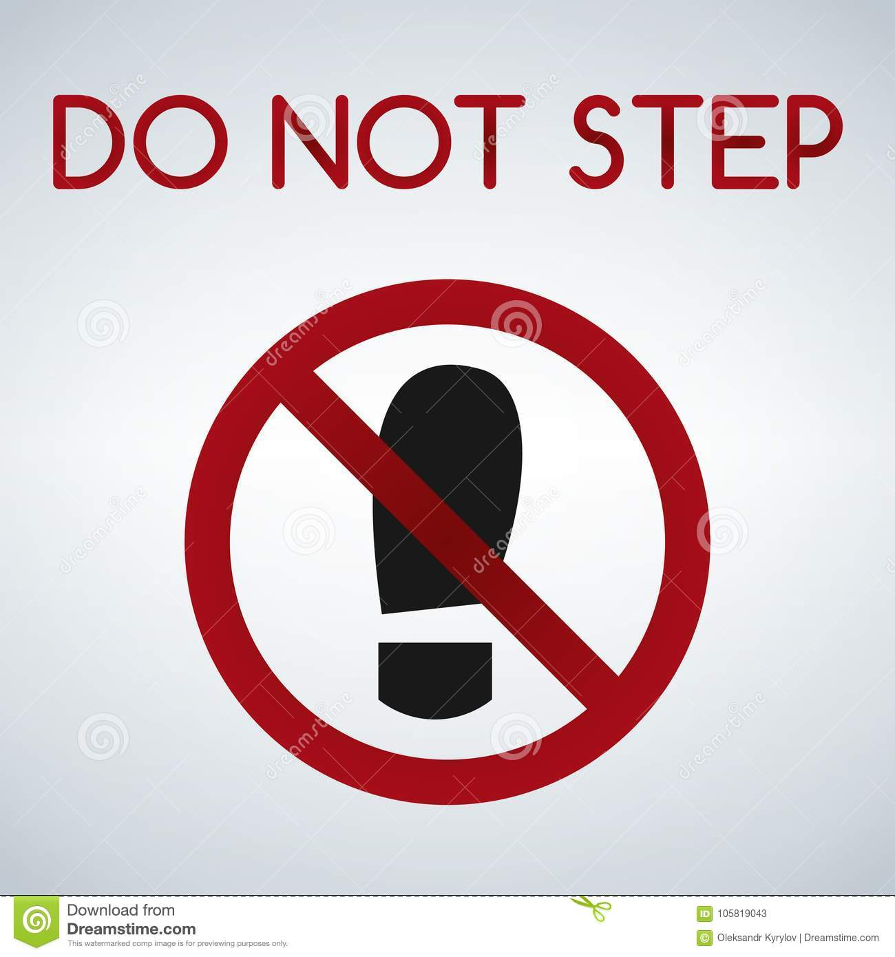 Imprint Soles Shoe Sign Icon Shoe Print Symbol Do Not Step Red