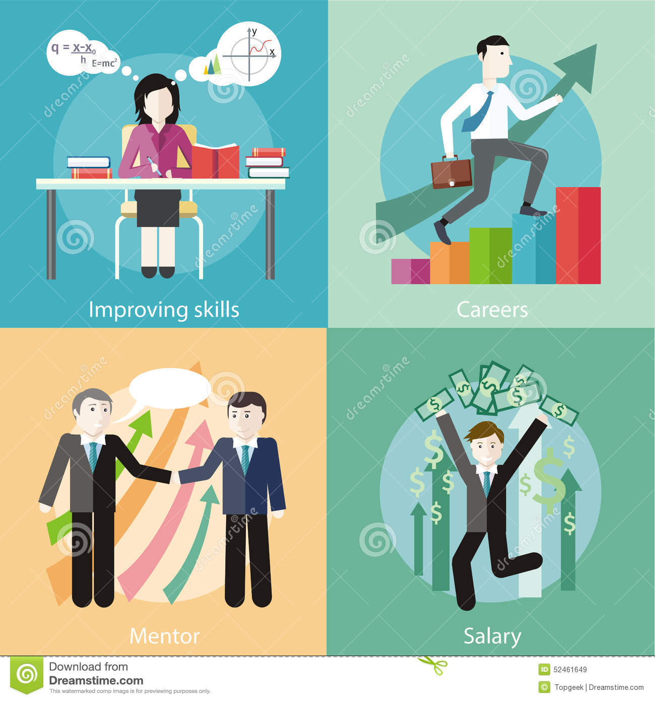 Improving Skills, Careers, Mentor, Salary Stock Vector
