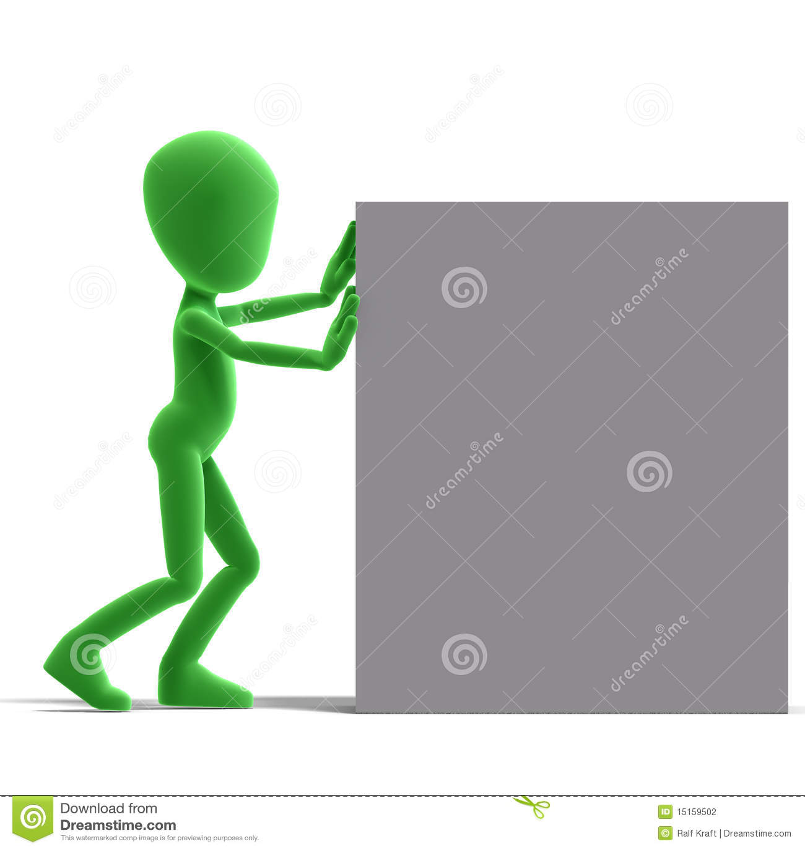 Impulso masculino simbólico do caráter de 3d Toon uma caixa grande