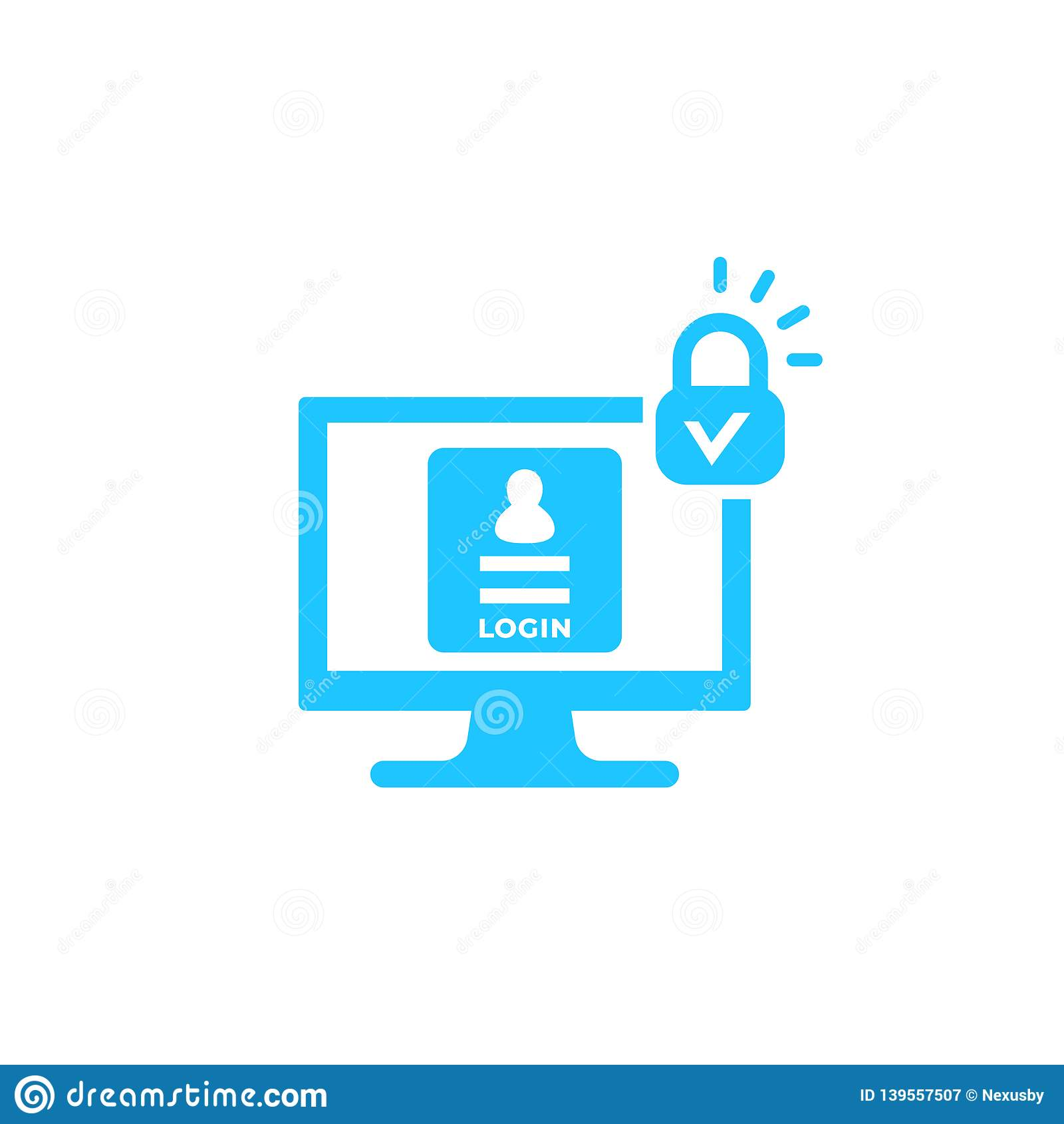 Início de uma sessão, ícone seguro do vetor da autenticação