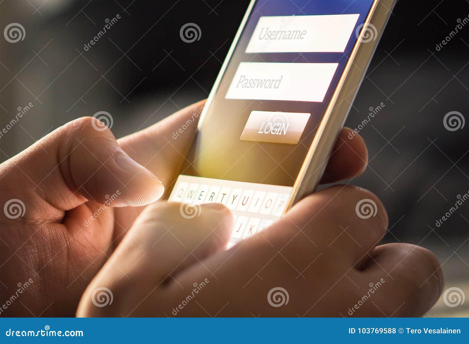 Início de uma sessão com o smartphone à conta bancária em linha