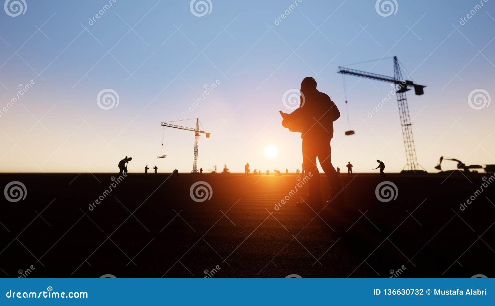 Inżynier, pracownicy budowlani i sylwetka