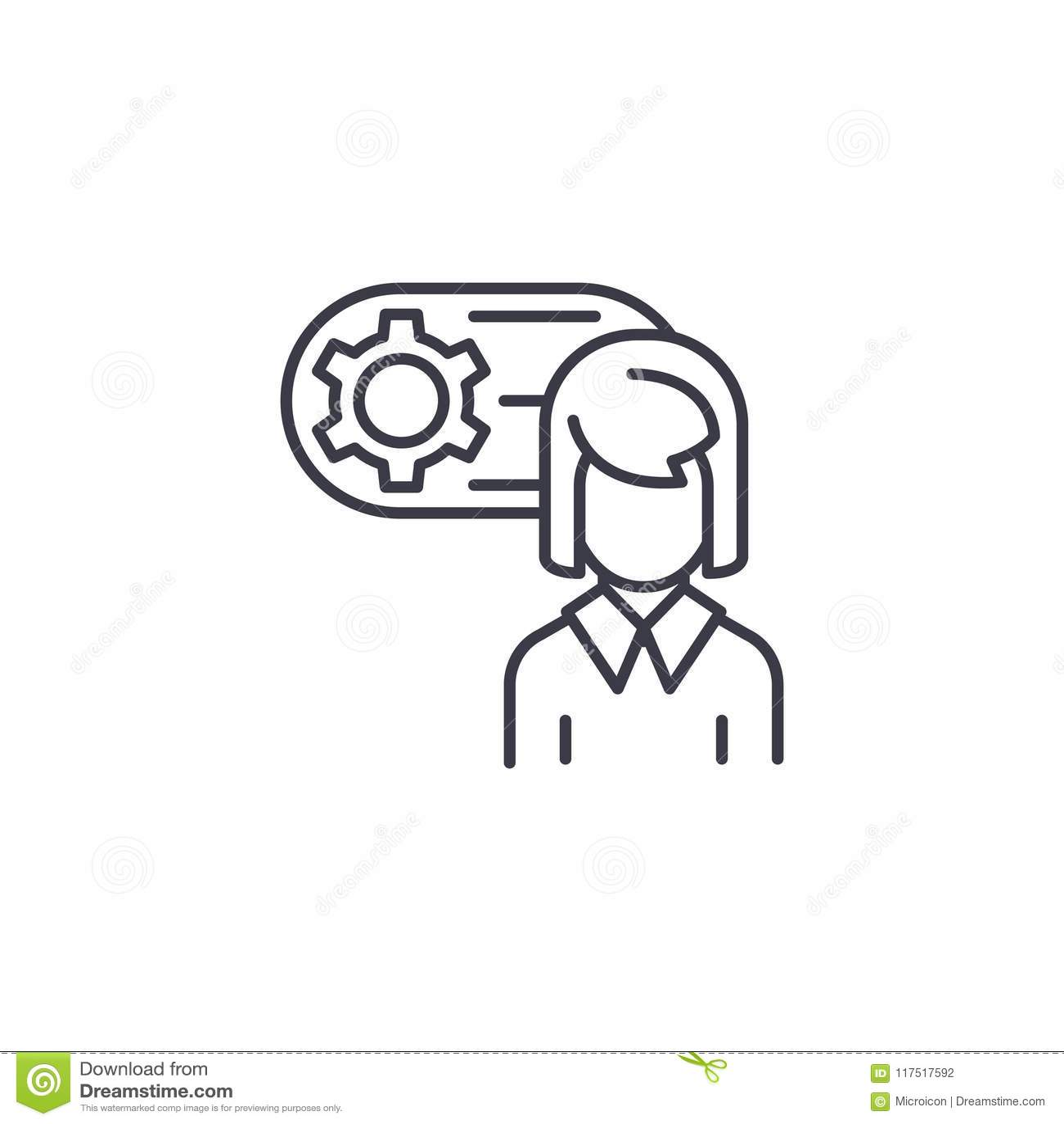 Inżyniera avatar ikony liniowy pojęcie Inżyniera avatar linii wektoru znak, symbol, ilustracja