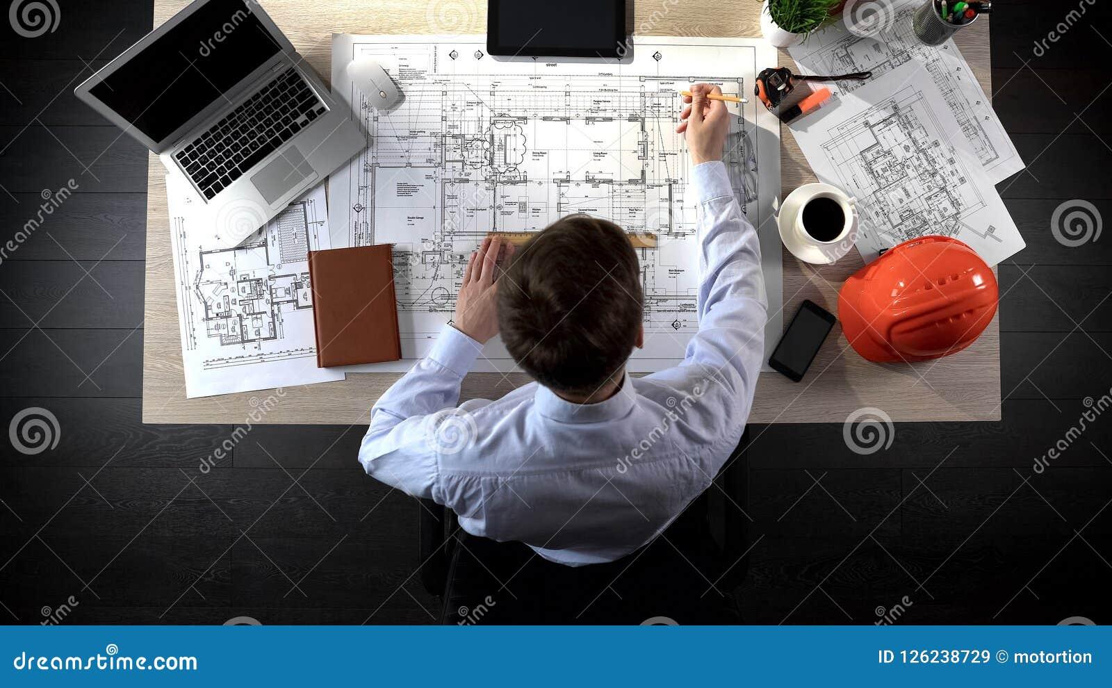 Inżyniera rysunku plan budynek, zbawcza inżynieria, biurowy lokaci planowanie