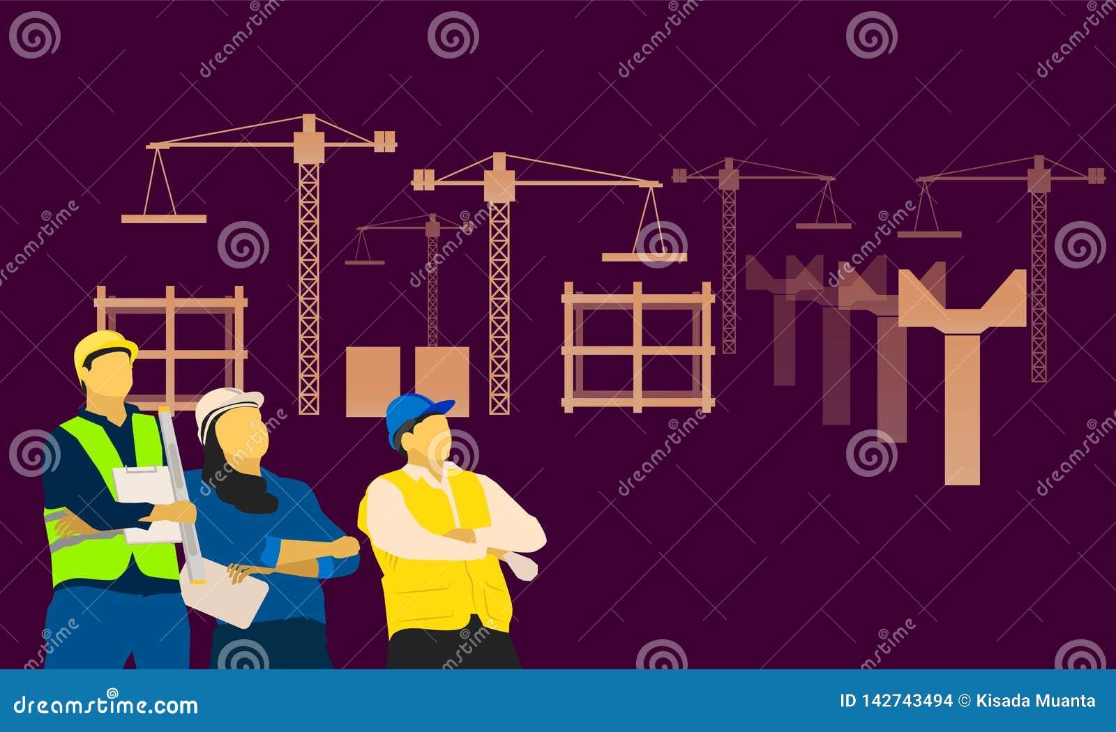 Inżynierii nieba męski żeński trwanie patrzeje przód konstruktor Wektorowa ilustracja EPS10