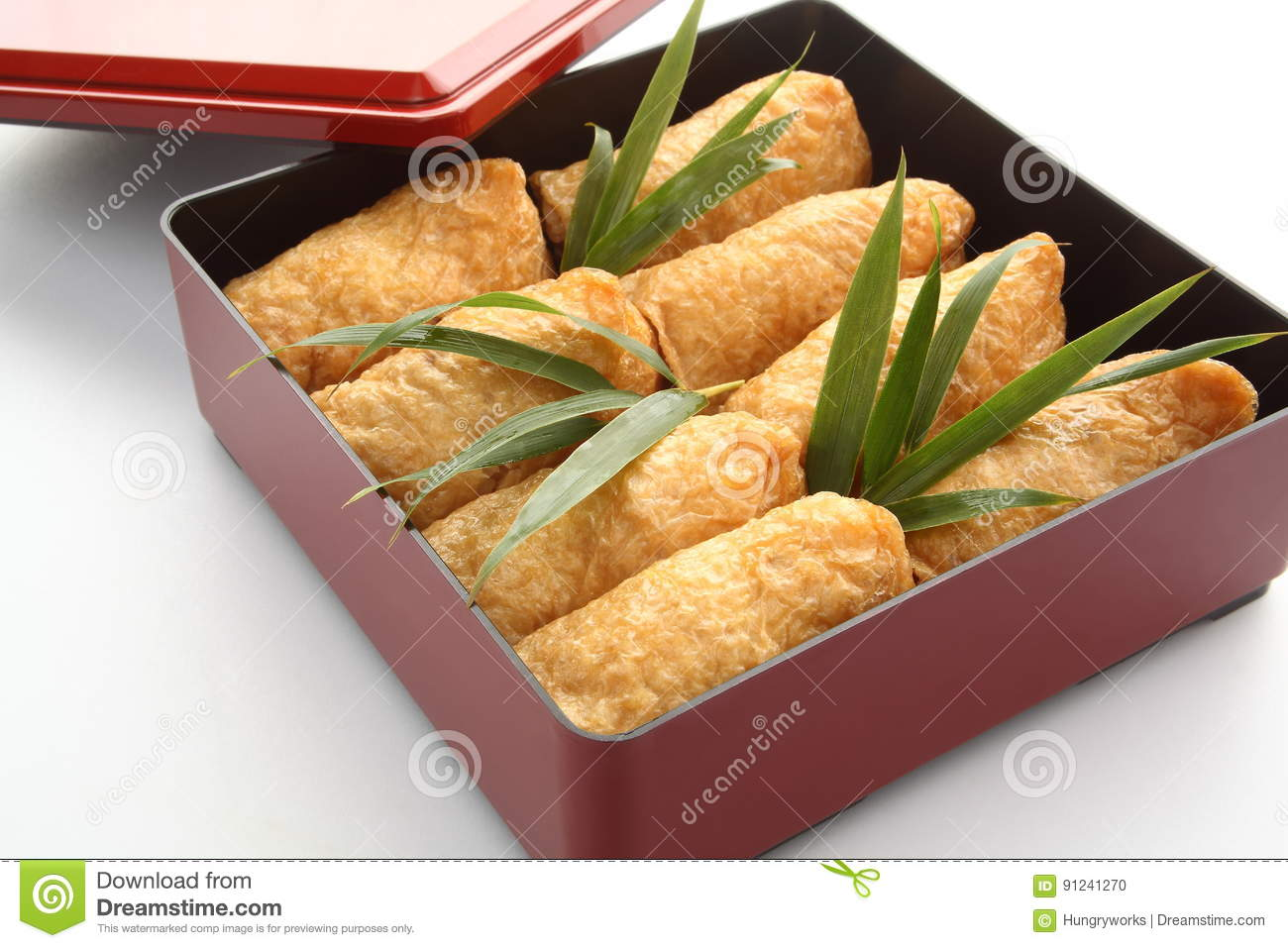 Inari Sushi Wrapped In Fried Tofu In Lunch Box Bento Japanese Food