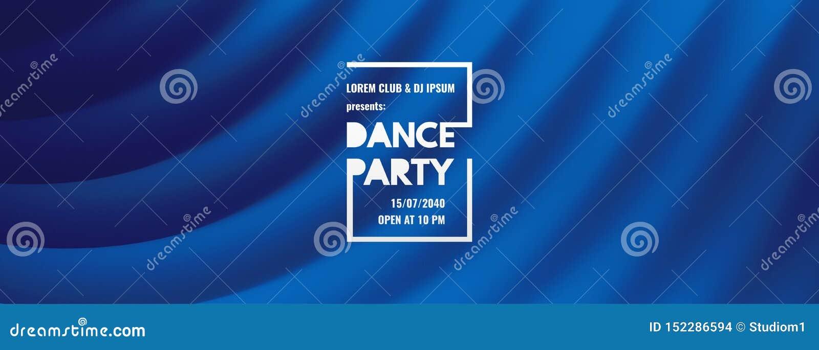 Inbjudan för dansparti med datum- och tidsdetaljer Blå gardin för teater Musikh?ndelsereklamblad eller baner krabb bakgrund 3D me