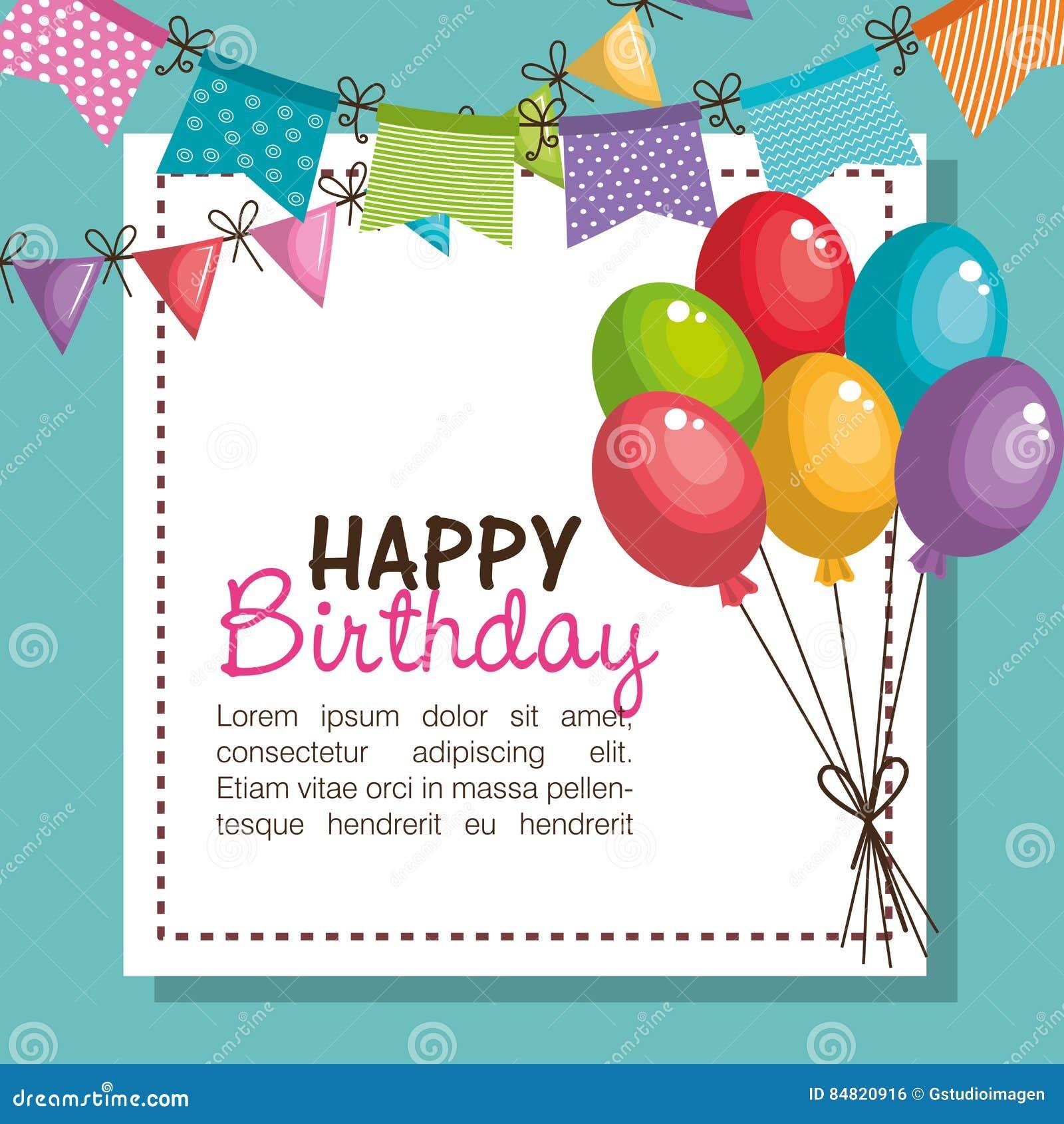 Inbjudan för parti för lycklig födelsedag med ballongluft